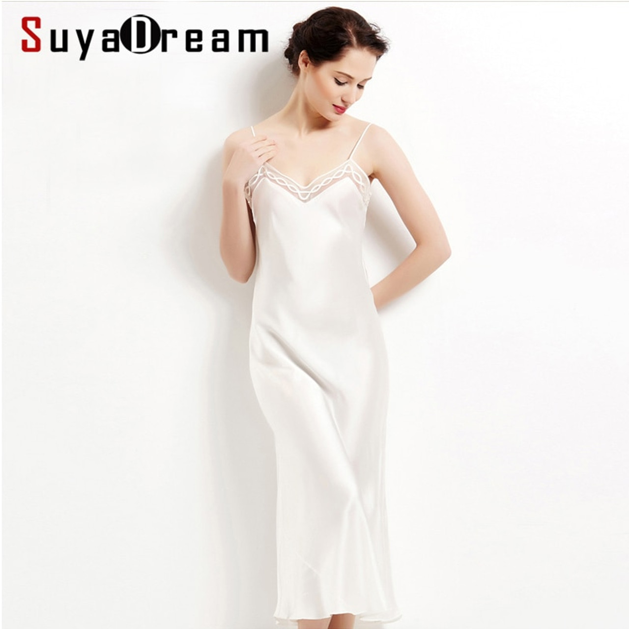 dddff295ff 100% pure silk long nightgowns women Sexy sleepwear Home dresses SILK  nightdress SATIN nightie Summer style dress White Black - OnshopDeals.Com