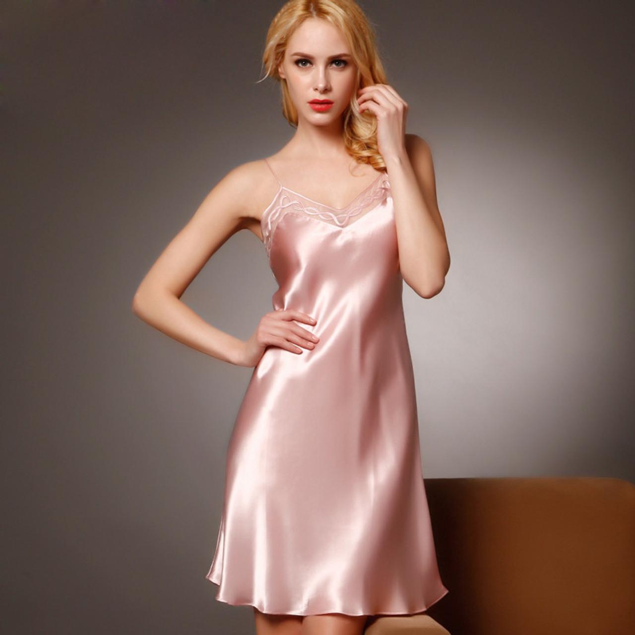 100% Silk Nightgowns Women Sexy Sleepwear Dresses Silk Nightdress Lady  Summer Style Dress Pink Loungewear Clothes - OnshopDeals.Com ad99bdc2f8