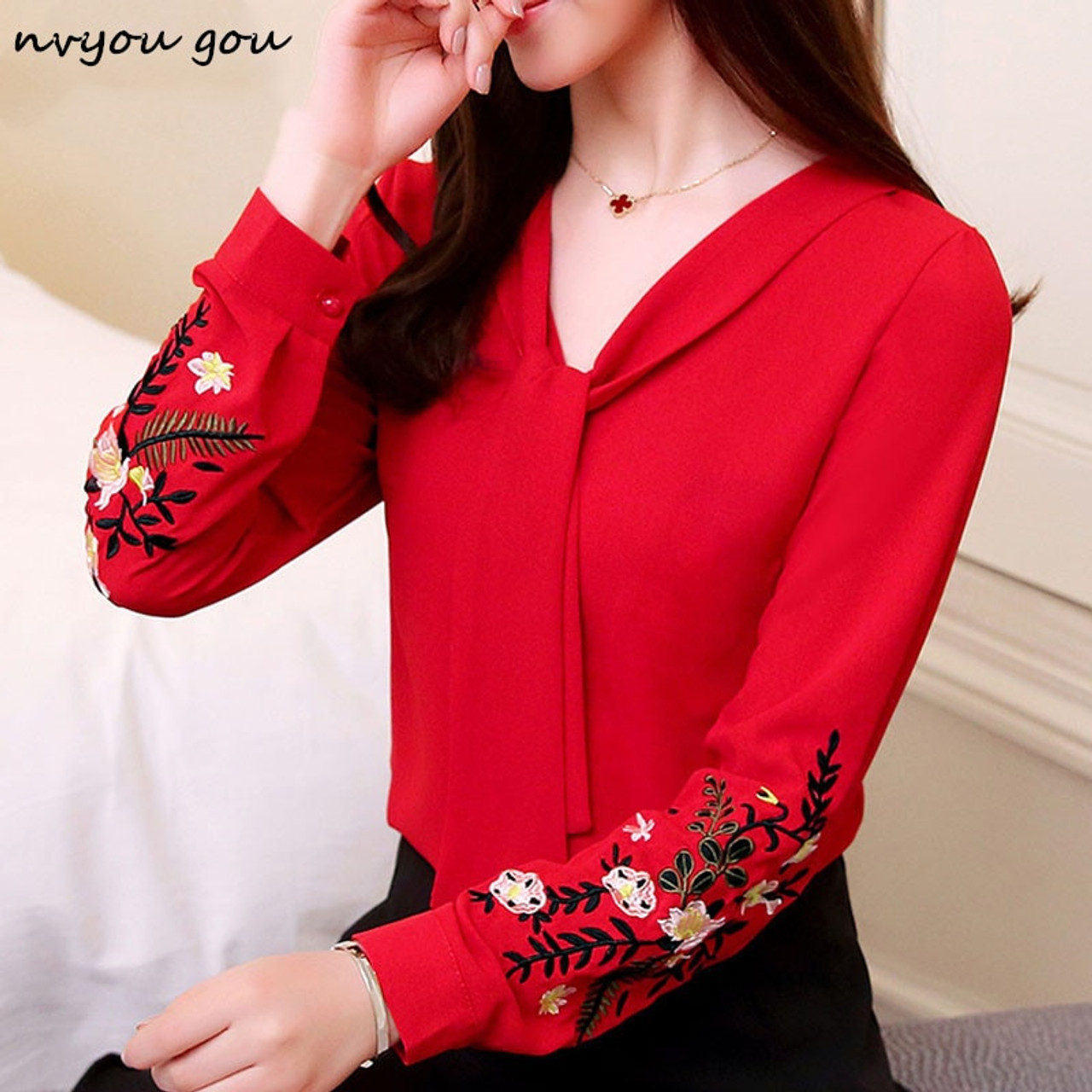 cea5943f91bffd ... nvyou gou Chiffon Embroidery Blouse 2019 New Fashion Women Tops Long  Sleeve Bow Tie Neck Elegant ...