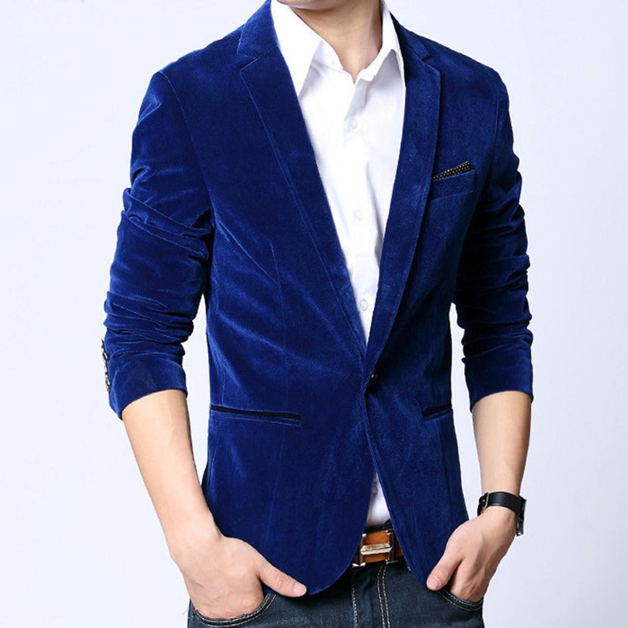 dbc89e12e194 ... Mens blazer slim fit suit jacket black dark blue velvet 2019 spring  autumn outwear coat Free ...