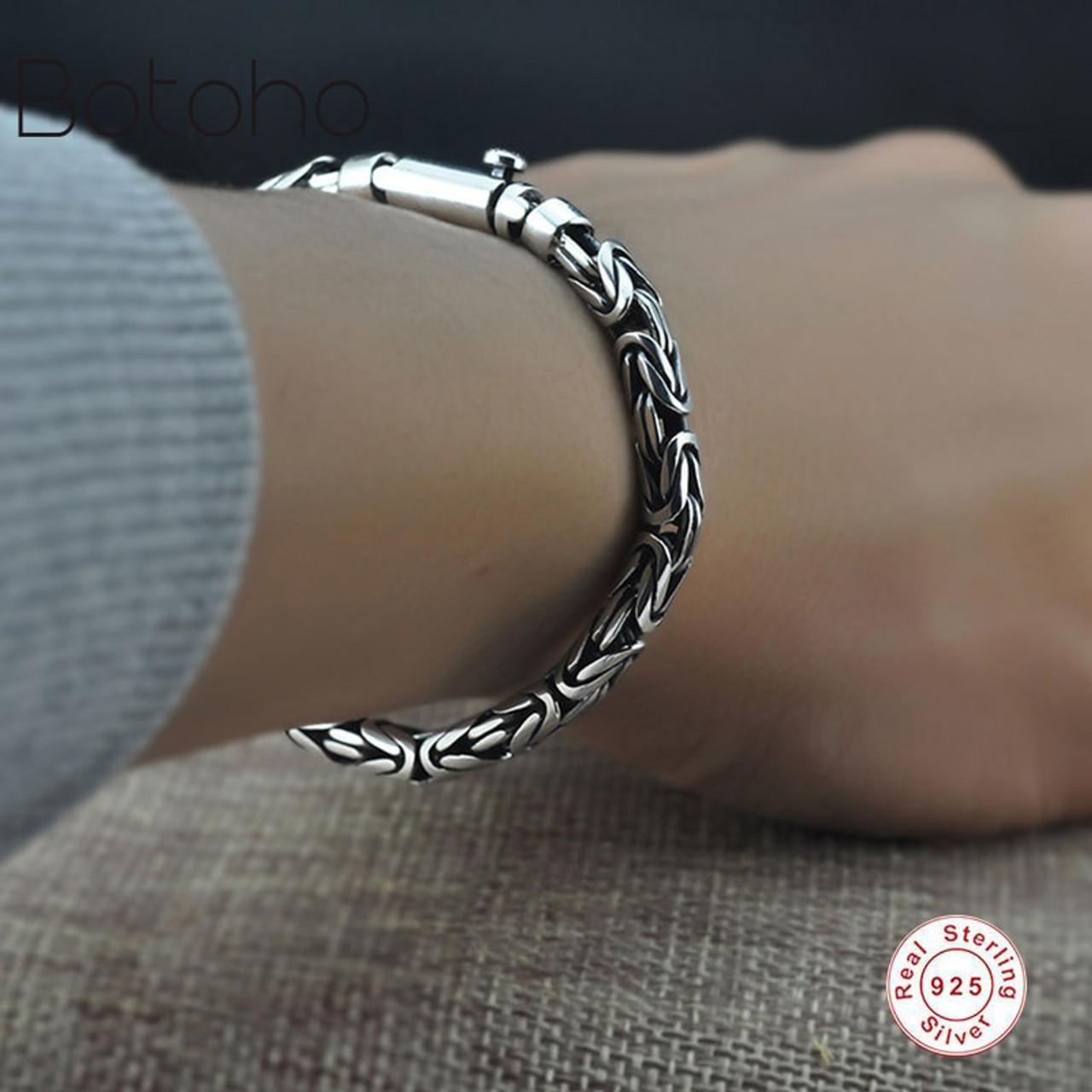 eeec00becaf69a 925Sterling silver bracelet Men Pure 925 Sterling Silver Bracelet Classic  Link Chain S925 Thai Silver Bracelet ...