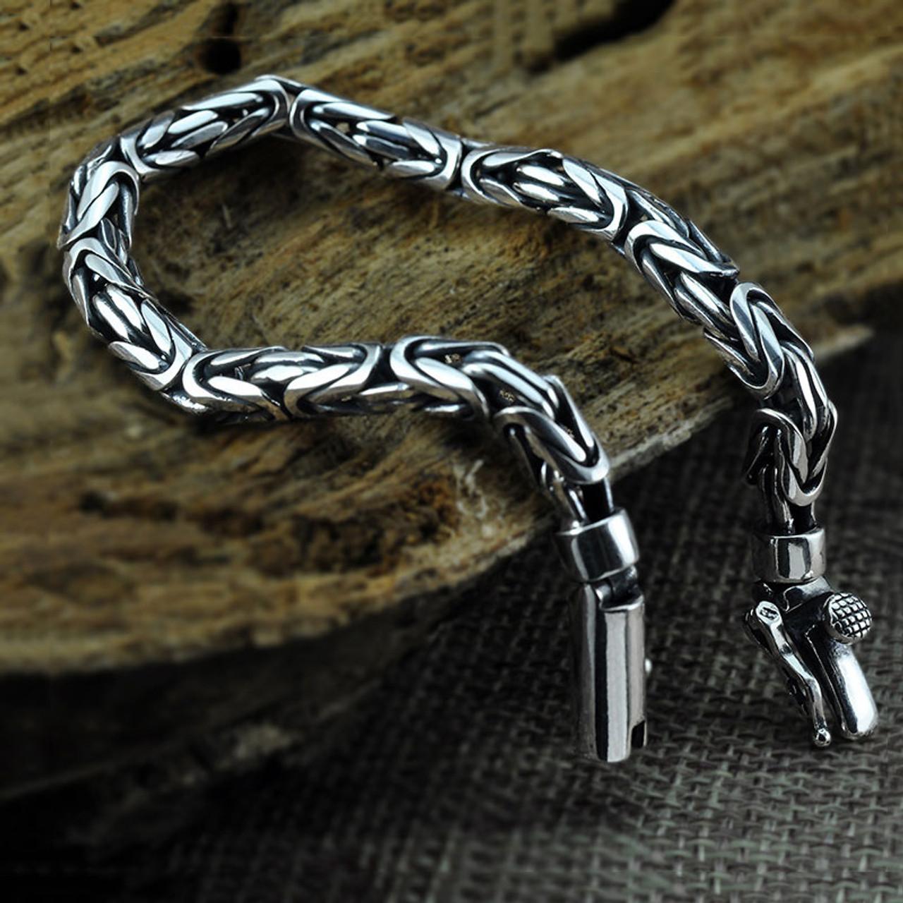 15f380d647d6f3 ... 925Sterling silver bracelet Men Pure 925 Sterling Silver Bracelet  Classic Link Chain S925 Thai Silver Bracelet ...