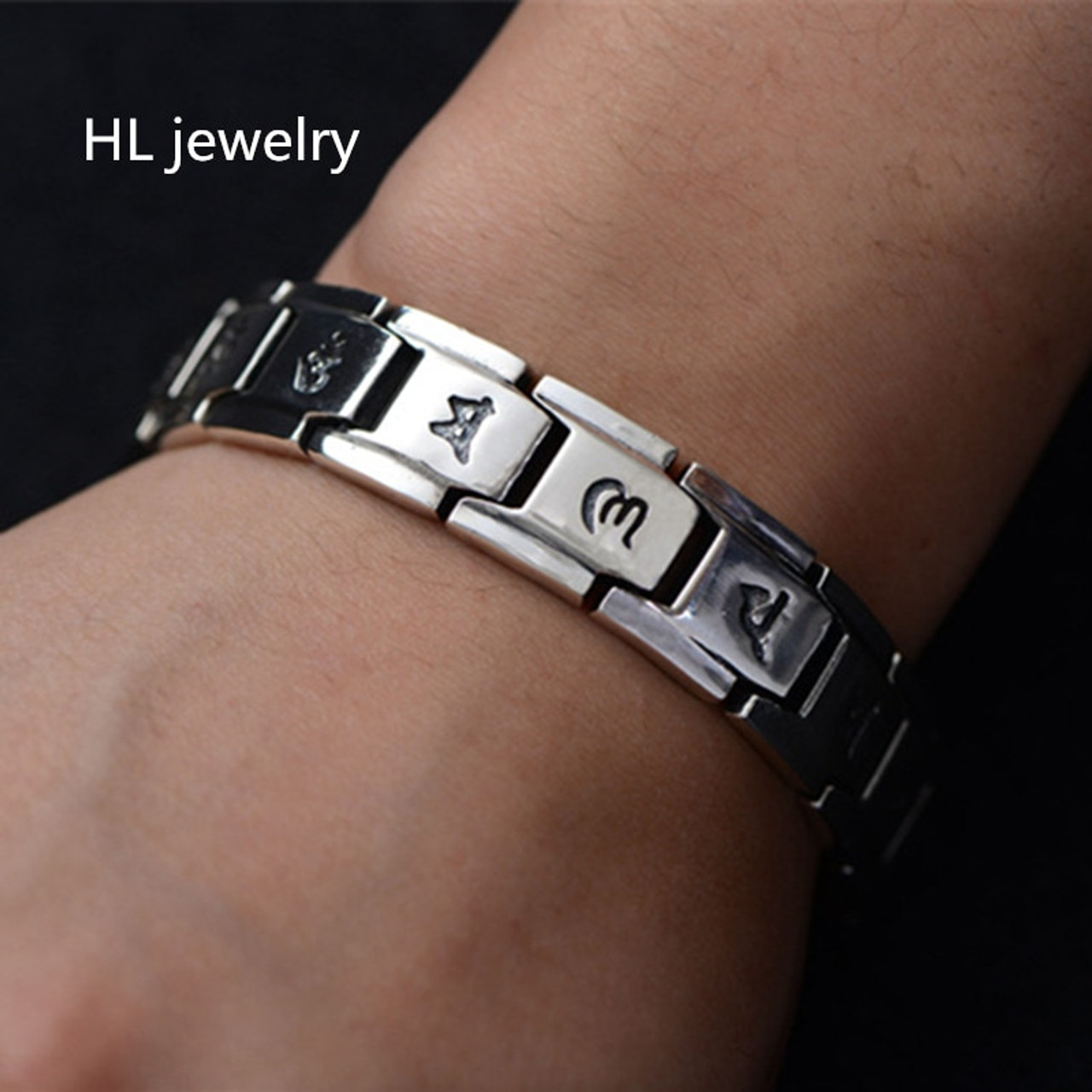 3da4881e31b431 22mm 100% Pure 925 Sterling Silver Bracelets for Women Men Fine Jewelry  Vintage S925 Solid ...