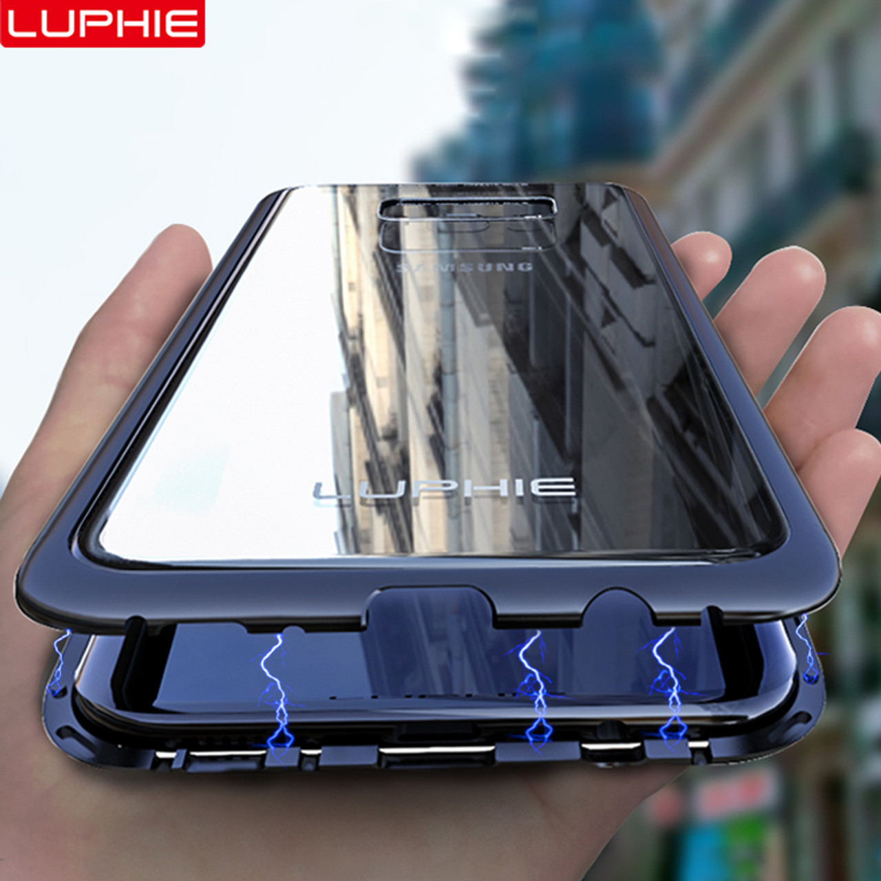 new style f2e04 c1f13 LUPHIE Magnetic Metal Case For Samsung Galaxy S9 S8 Plus Note 8 9 Magnet  Case Bumper Clear Glass Cover For Samsung Note 9 8 Case