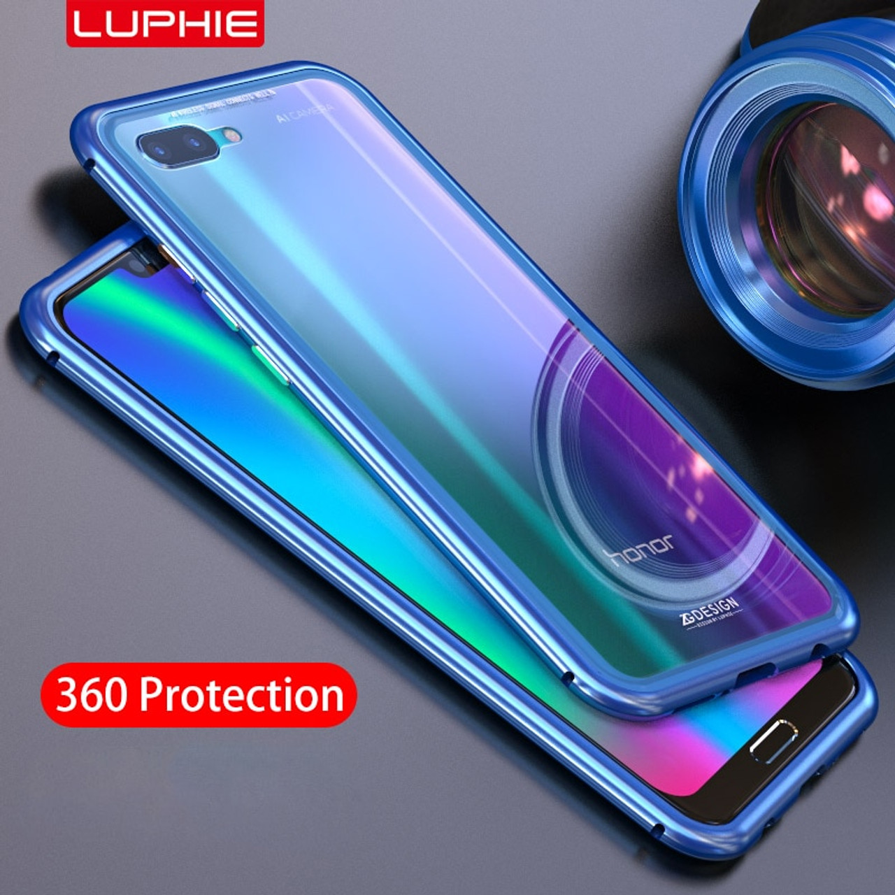 los angeles 635aa 88096 Magnetic Adsorption Flip Case for Huawei Honor 10 Huawei P20 Pro Tempered  Glass Back Cover Luxury Metal Bumpers For P20 Lite