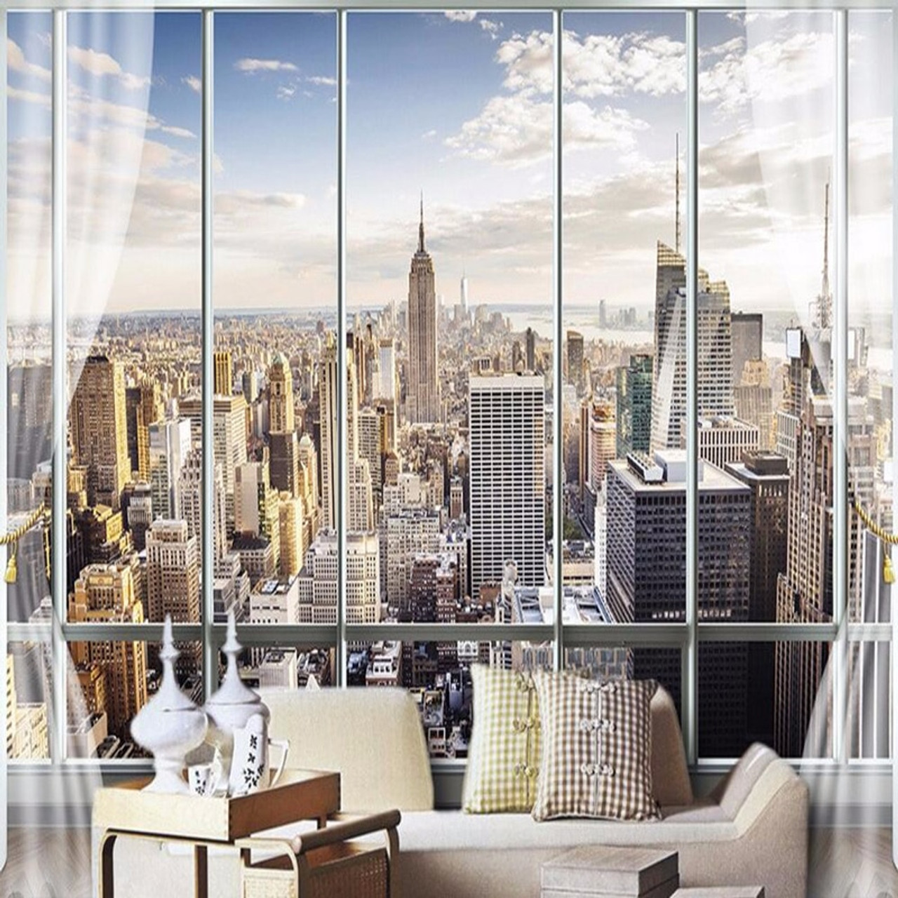 Photo Wallpaper Custom 3d Stereo Latest Outside The Window New York City Landscape Wall Mural Office Living Room Decor Wallpaper Onshopdeals Com