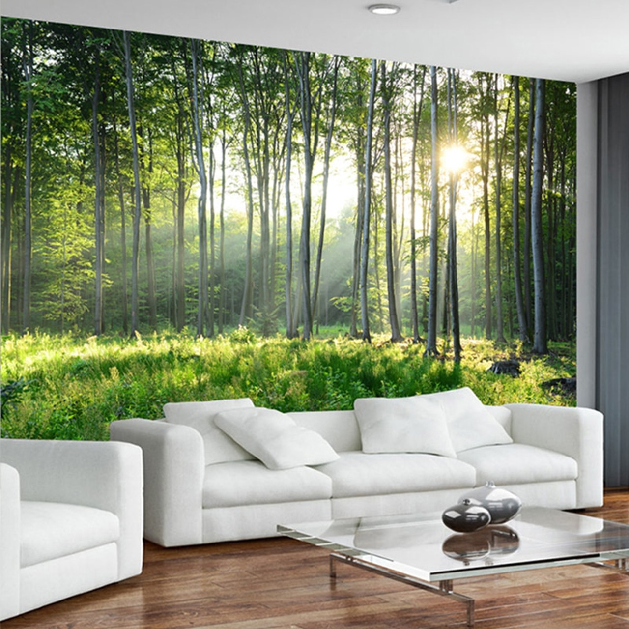 Custom Photo Wallpaper 3D Green Forest Nature Scenery ...