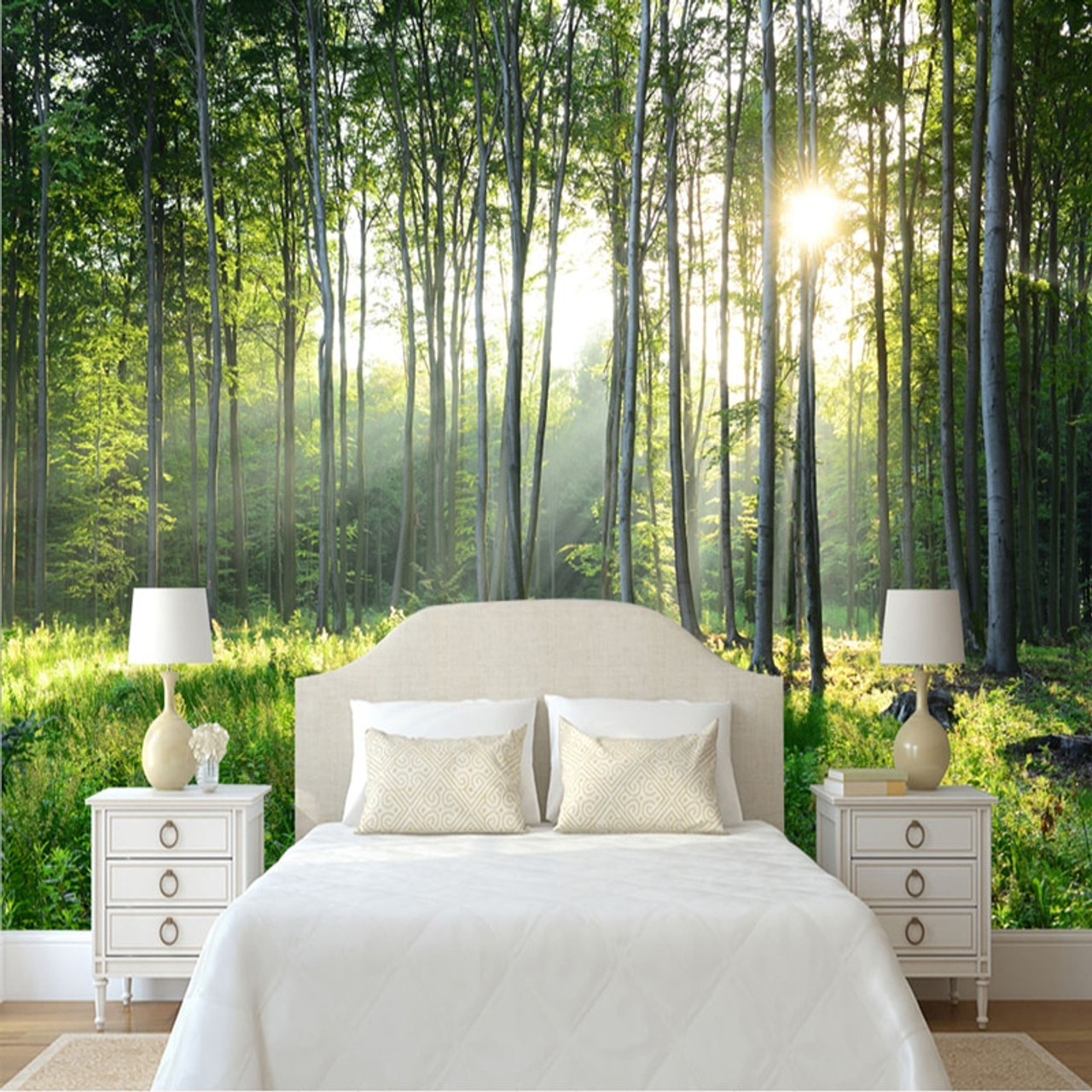 Custom Photo Wallpaper 3d Green Forest Nature Scenery Murals Living