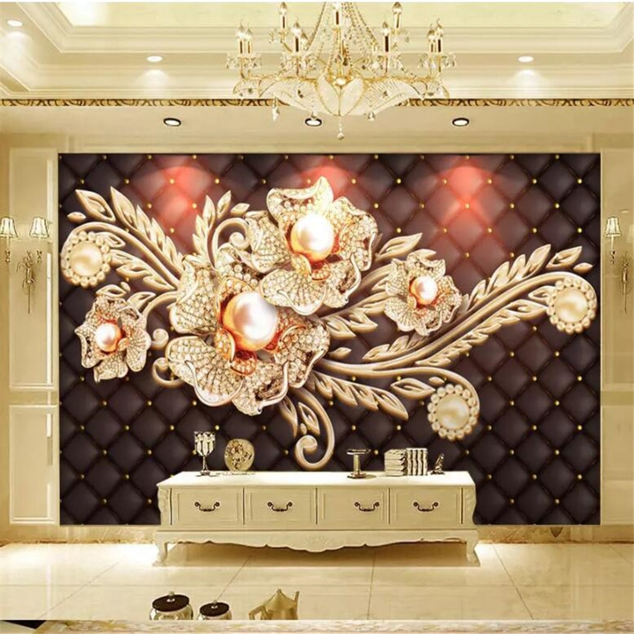Large 3d European Pearl And Rose Jewelry Tv Background: Beibehang Custom Wallpaper 3d Photo Murals Black Simple