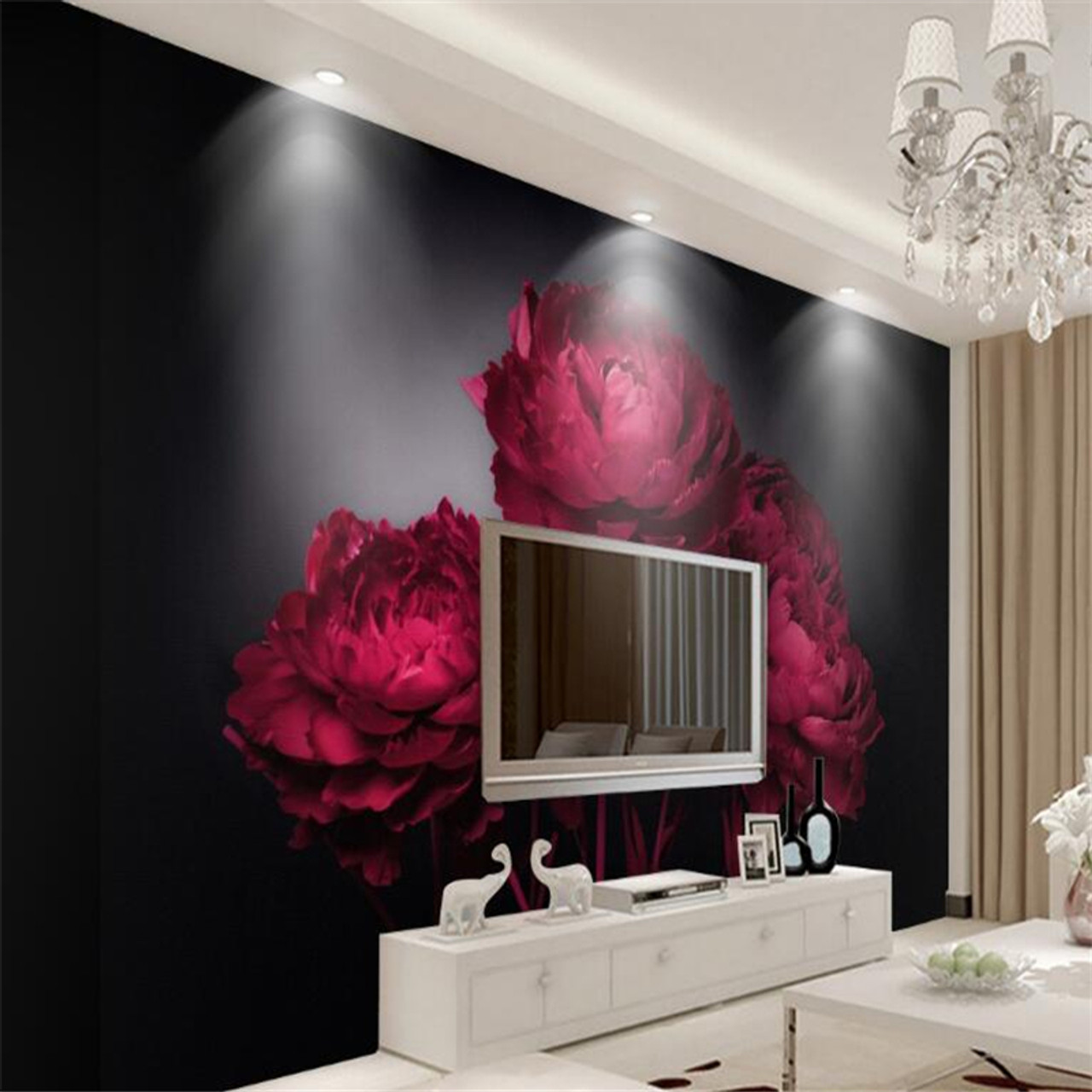 Beibehang 3D wallpaper romantic red roses TV background wall living room bedroom background mural photo wallpaper  95326.1549108353