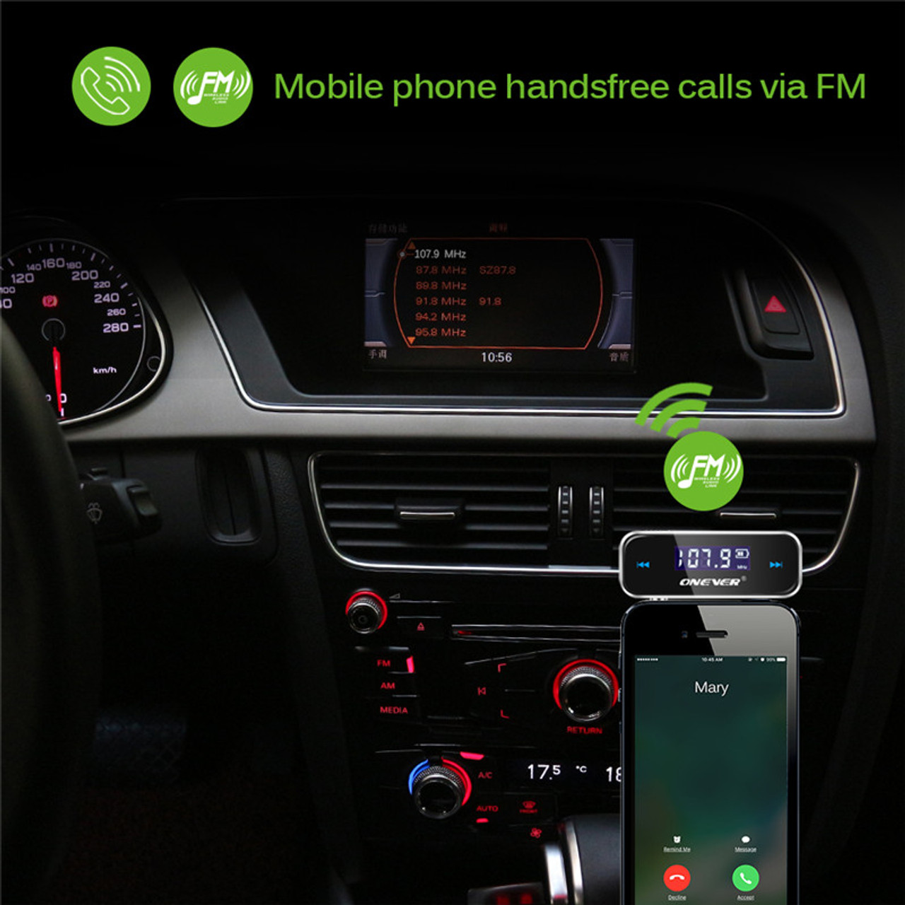 Onever Wireless Mini FM Transmitter Car MP3 Player LCD Display 3 5mm In-car  Music Audio Transmitter Modulator For Mobile Phones