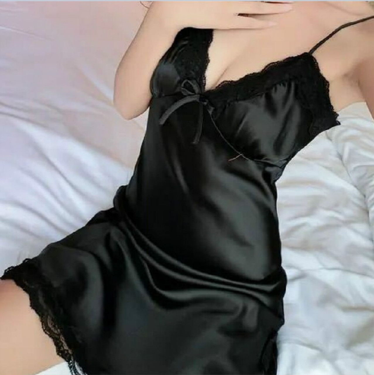 03f2fc00c6d Women Sleep Dress Skirt Sexy-Lingerie Sleepwear Satin Silk Babydoll Lace  Robes ...