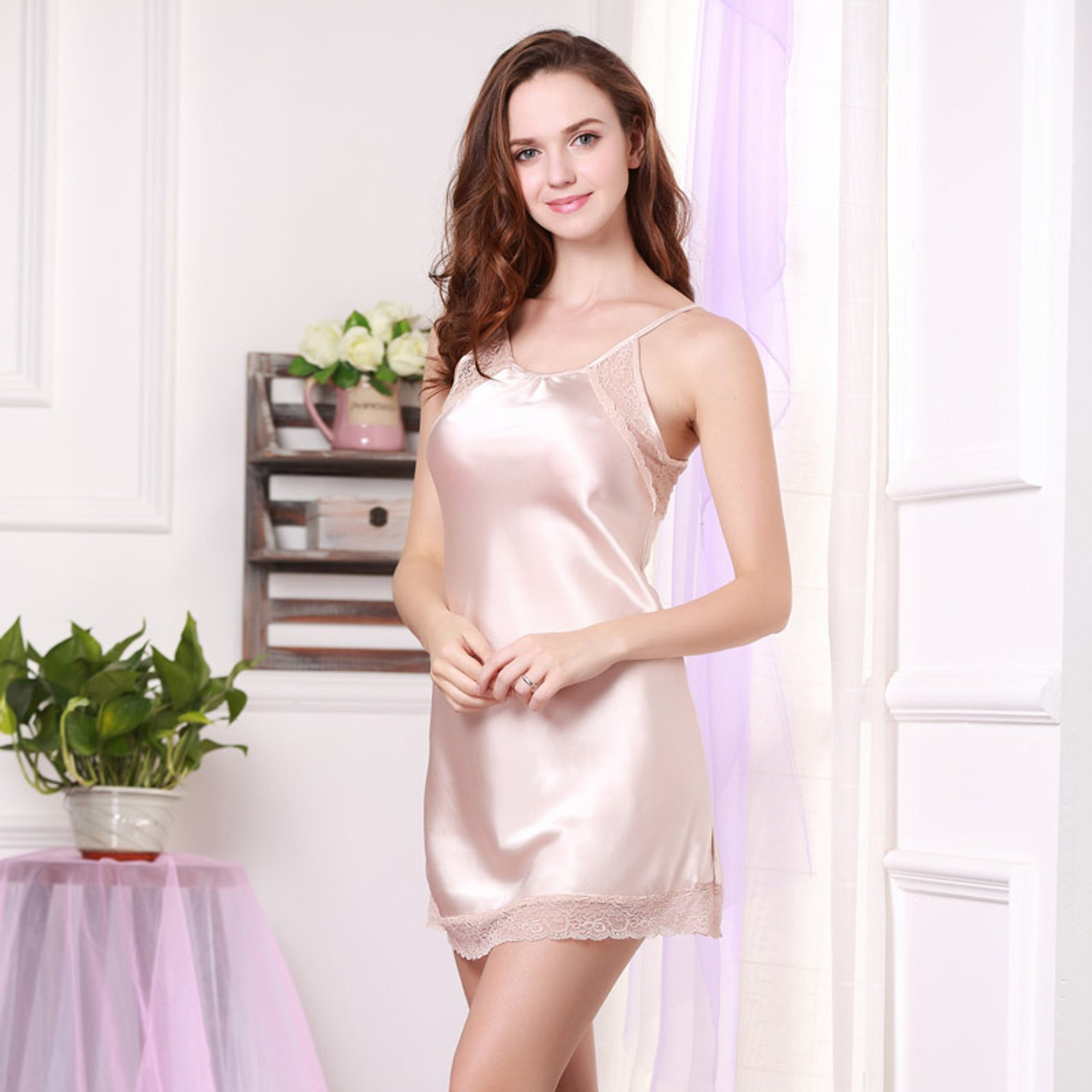 46fe9ead46c32 ... Women Sexy Silk Satin Nightgown Lace Nightdress V-neck Night Gown Sleeveless  Nighties Fashion Sleep ...
