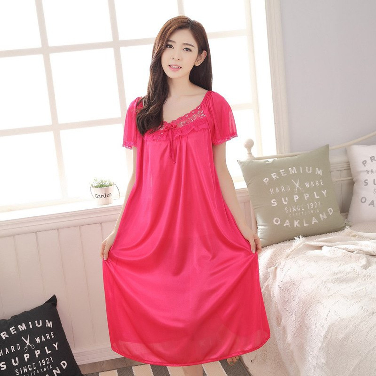 12d1de0cf4 Hot 2018 Women s fashion Cozy Large size sleepwear Breathable Short sleeve  Nightgowns Sexy V-neck Silk Nightgown - OnshopDeals.Com
