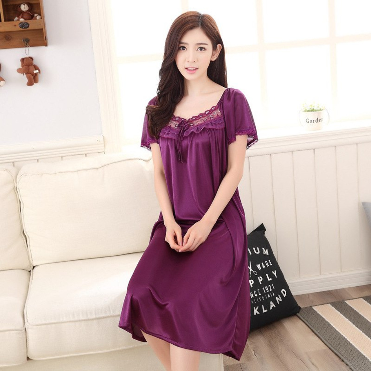 09d6363ce2 ... Hot 2018 Women s fashion Cozy Large size sleepwear Breathable Short  sleeve Nightgowns Sexy V-neck ...