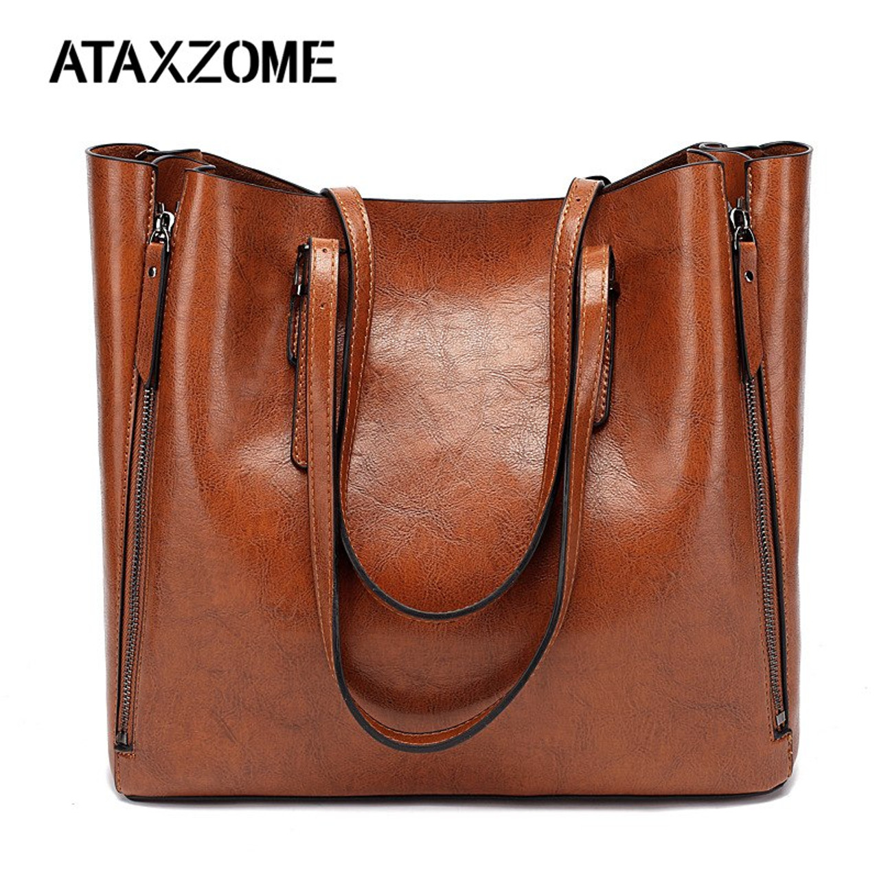 40dcbb99ac ATAXZOME Oil Wax PU Leather Handbags Shoulder Hand bag Large Capacity OL Women  Bags for 2018 ...