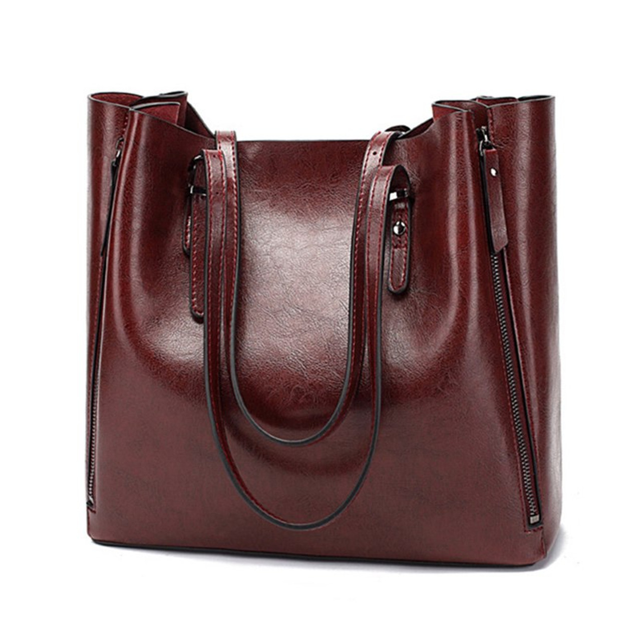 df6af87a3447 ATAXZOME Oil Wax PU Leather Handbags Shoulder Hand bag Large Capacity OL  Women Bags for 2018 Female Famous Designer Casual Tote