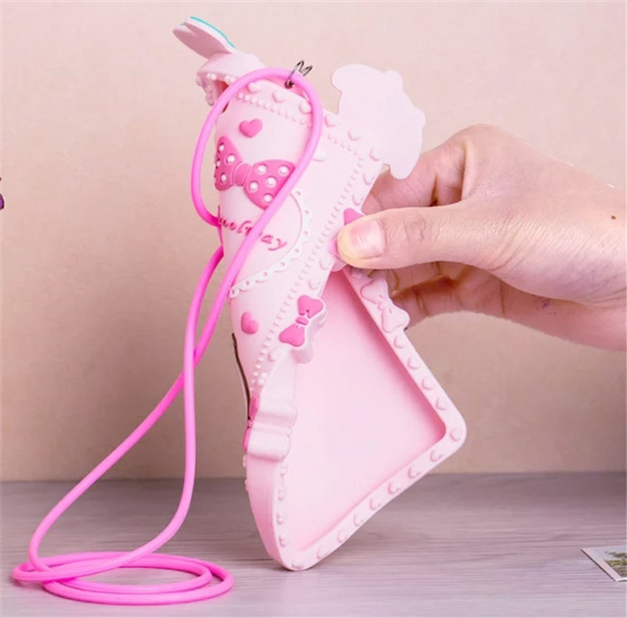 c8a4fd056 ... Lovely 3D Cartoon Hello kitty My Melody Bow Pink Capa Soft Silicone  Phone Case For iPhone ...