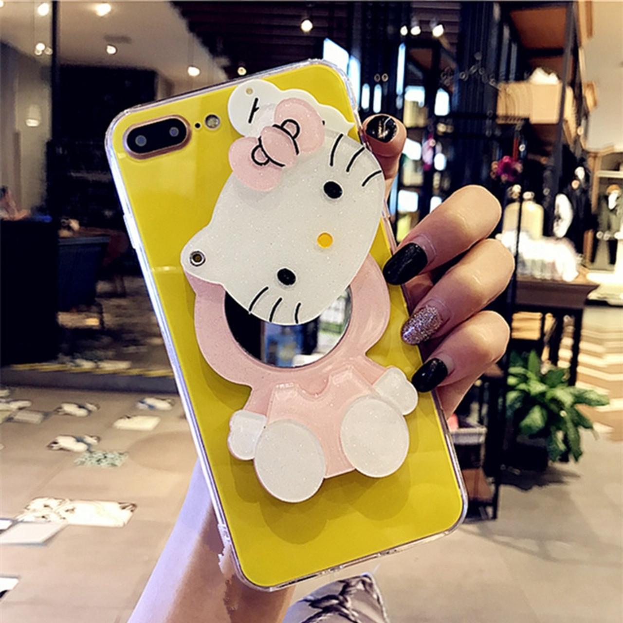 fa51c43b5 ... For iPhone 6 Case iPhone 7 8 Plus Cute Cartoon Hello Kitty Mirror Phone  Case for ...