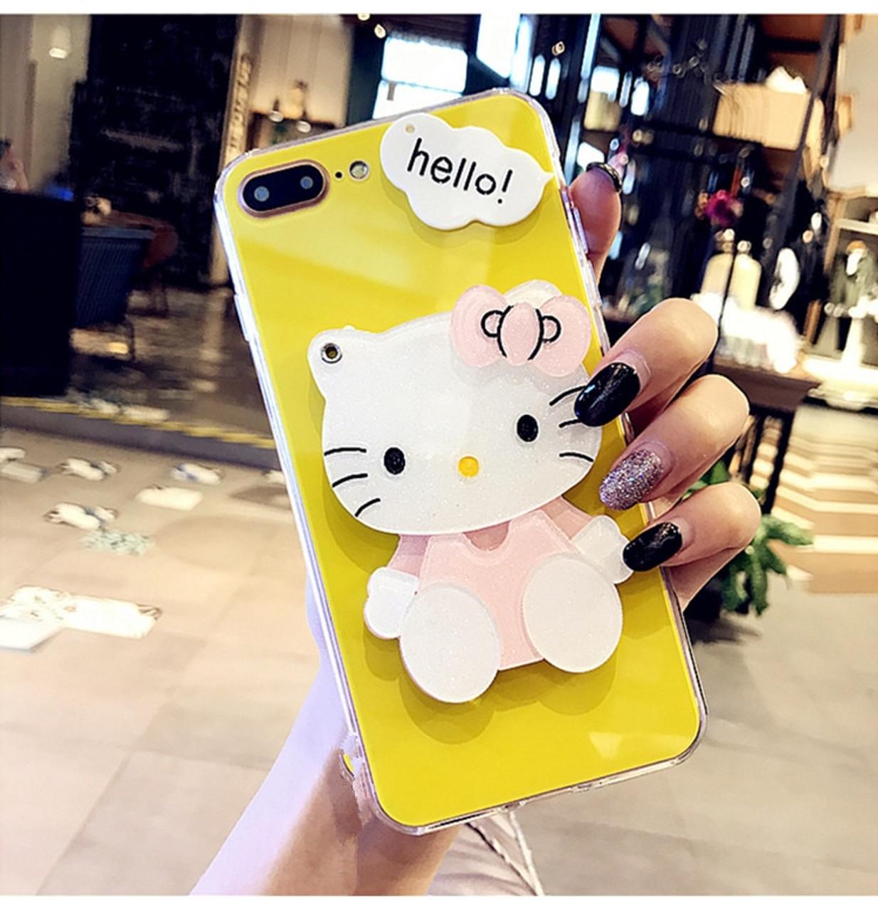 3f7de5c32 ... For iPhone 6 Case iPhone 7 8 Plus Cute Cartoon Hello Kitty Mirror Phone  Case for ...