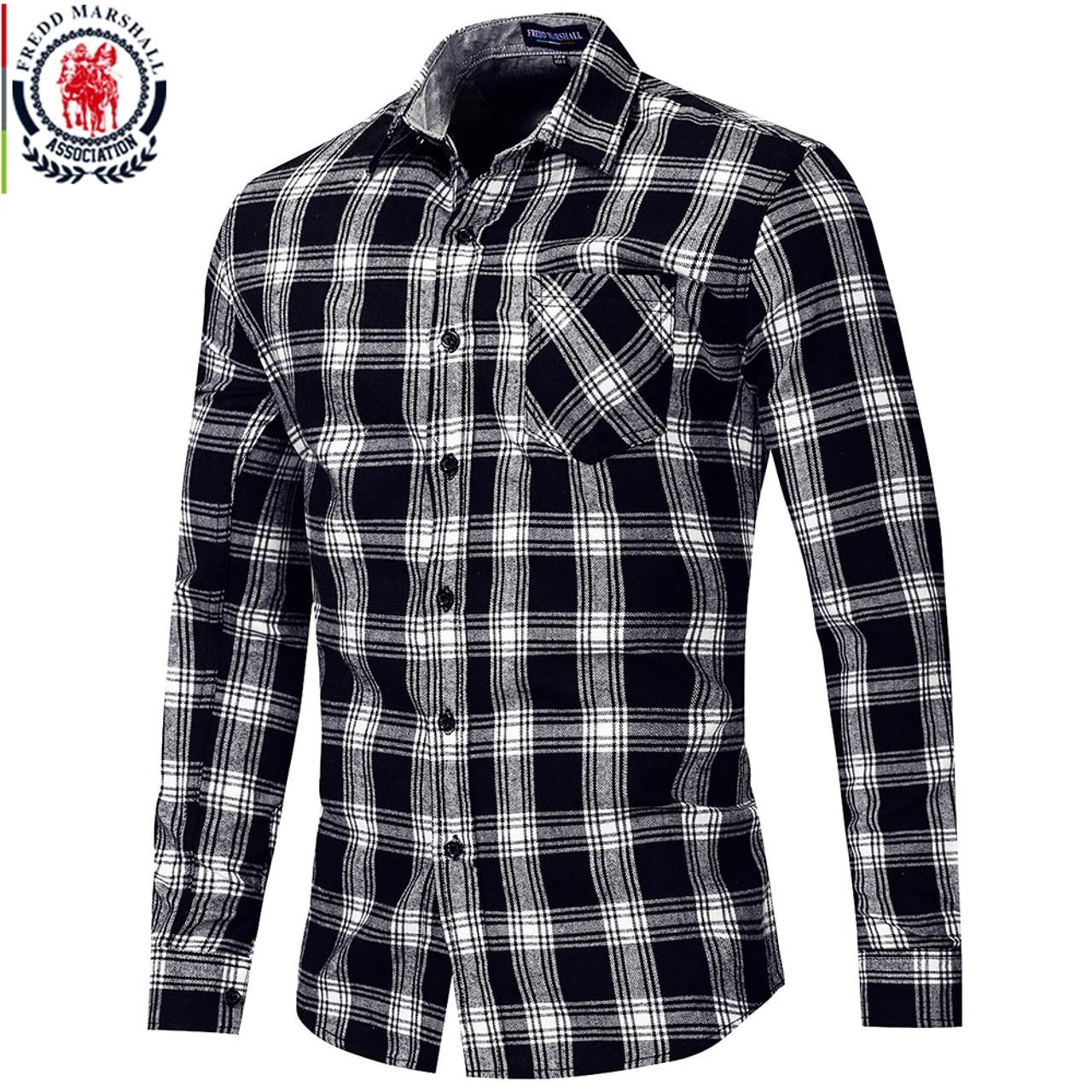 9d42fe99cd Fredd Marshall 2018 Autumn New Long Sleeve Slim Fit Plaid Dress Shirt Men  100% Cotton ...