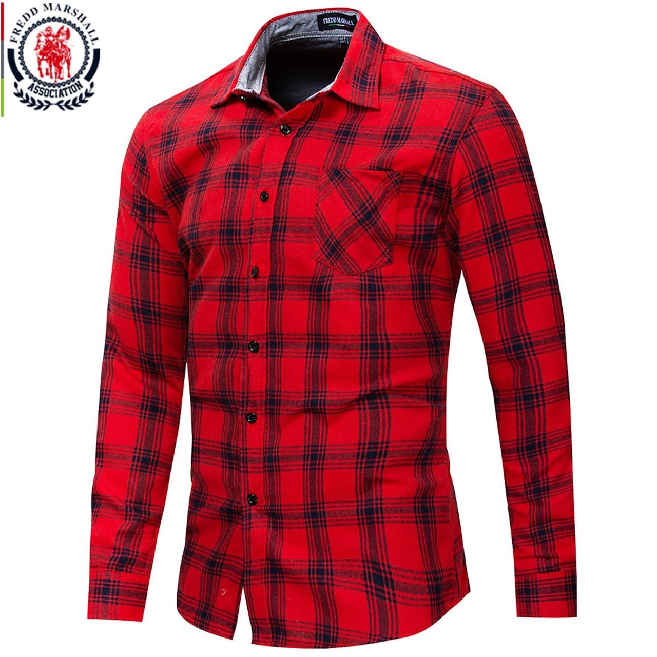850798b58d ... Fredd Marshall 2018 Autumn New Long Sleeve Slim Fit Plaid Dress Shirt  Men 100% Cotton ...