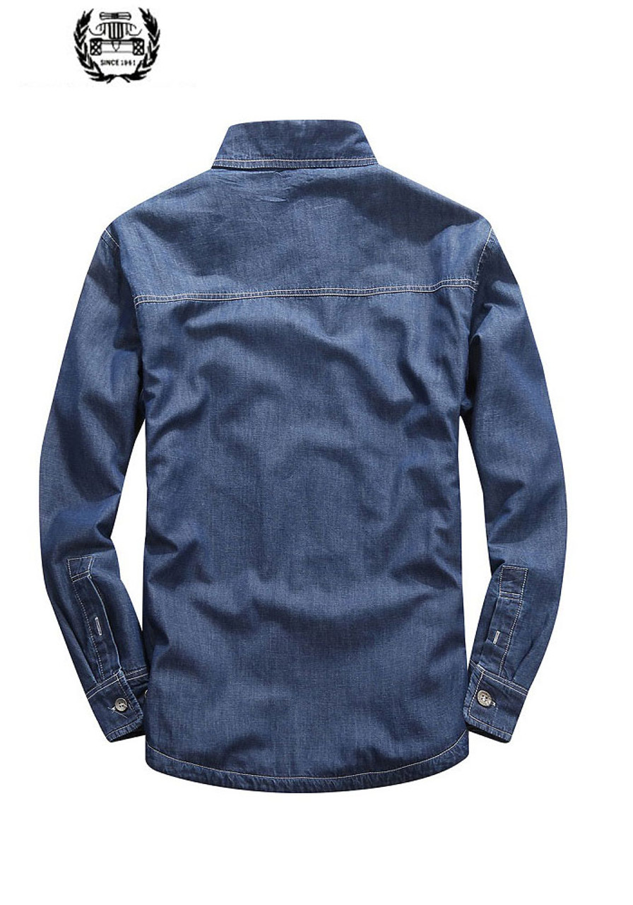448ffa7f78e ... 2019 M~5XL Fleece Spring Autumn Denim Shirts Man Dress Shirt Brand  CLOTHES Slim Fit ...
