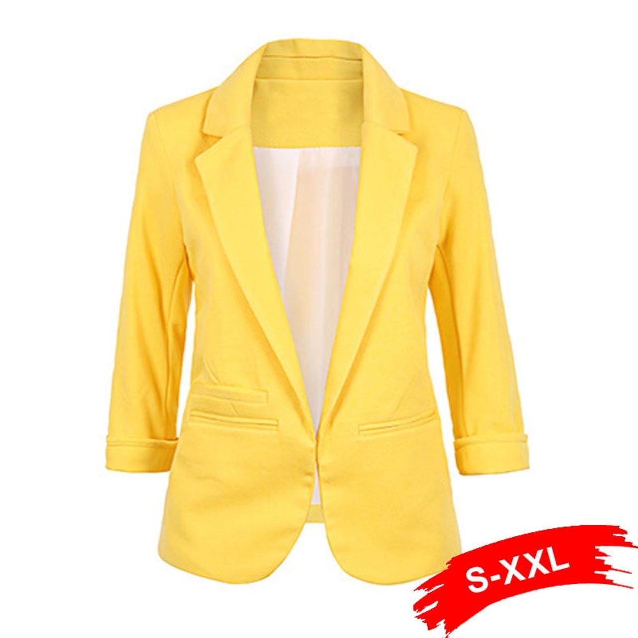 f5ebfb38ec99 Ladies Plus Size Yellow Blazer Feminino Formal Jacket Women S White Blazer  Female Blue Women Suit Office ...