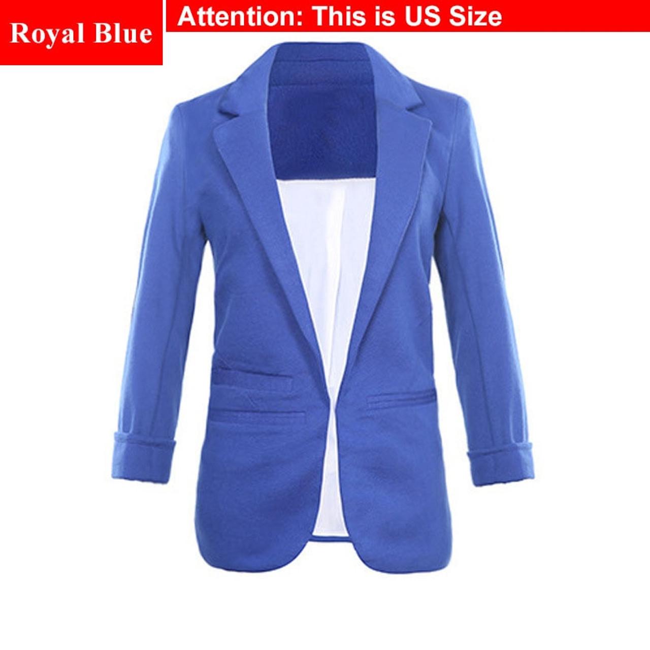 5b7f58c0a5c87 ... Ladies Plus Size Yellow Blazer Feminino Formal Jacket Women S White Blazer  Female Blue Women Suit Office ...