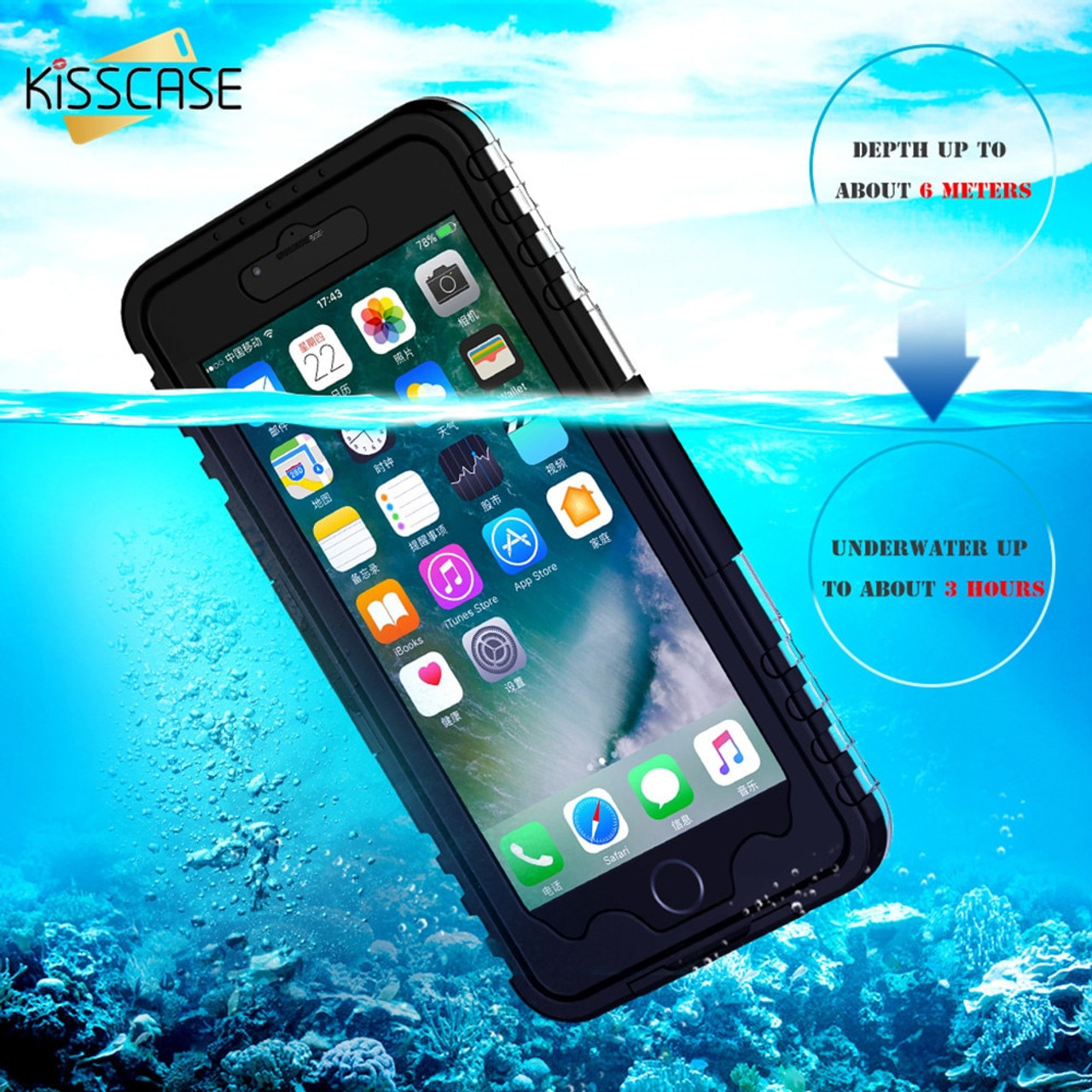 free shipping 97fe8 c251e KISSCASE Waterproof Case for Samsung Galaxy Note 2 3 4 5 S8 Plus S7 S6 Edge  Cover IP68 Diving Phone Case For iPhone 6 6s 7 Plus