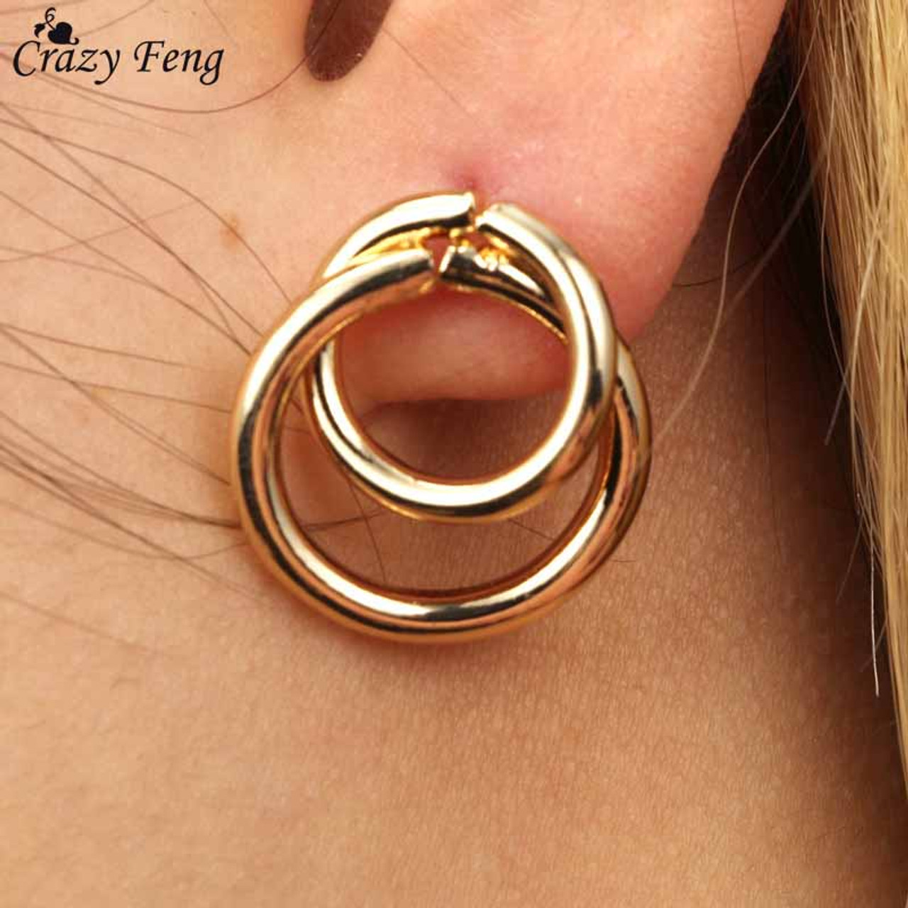 af0459548 Crazy Feng Trendy Statement Earring Jewelry For Women Fashion Gold/Silver  Color Double Round Circle ...