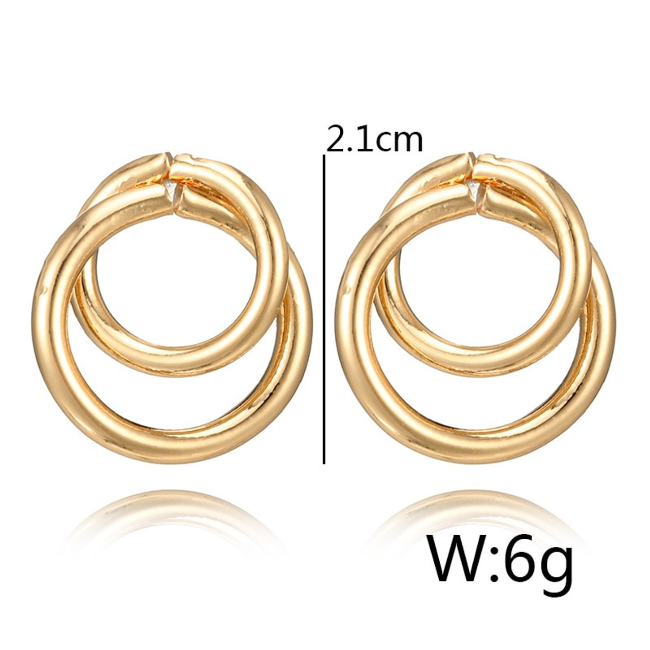 3a78d4768 ... Crazy Feng Trendy Statement Earring Jewelry For Women Fashion Gold/Silver  Color Double Round Circle ...