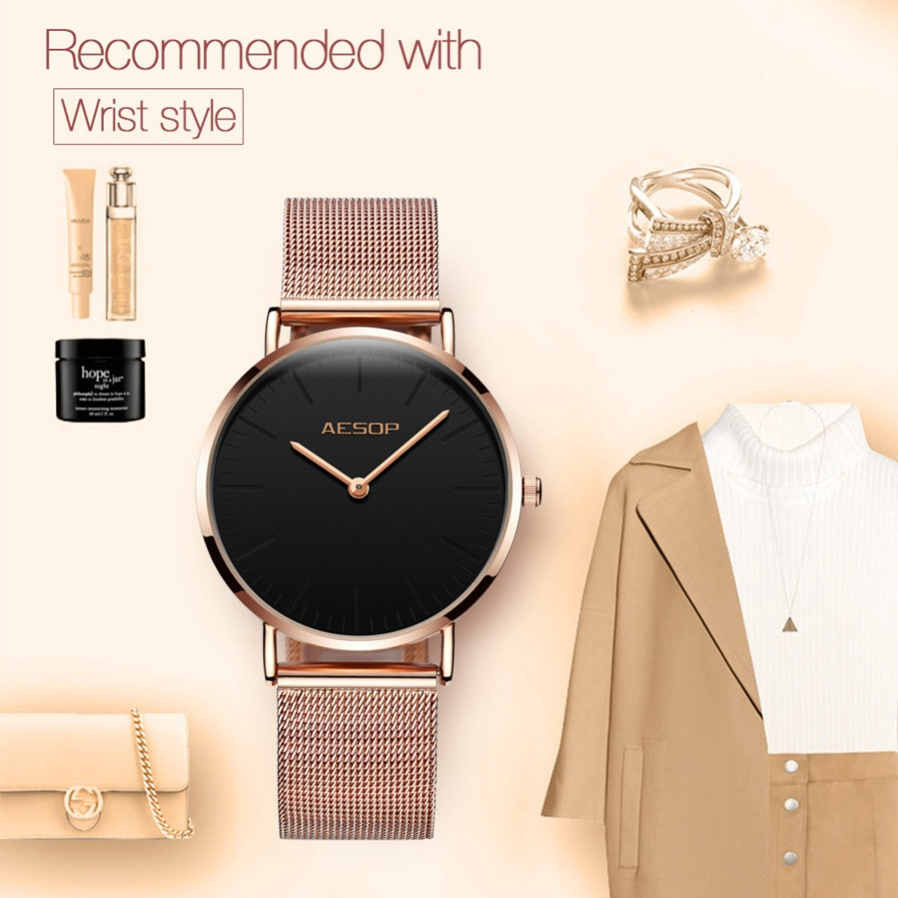 0191d73e2c7e ... Quartz Ladies Watch Brand Luxury AESOP Women Watches Stainless Steel Rose  Gold Watches Sport Wrist Watches ...