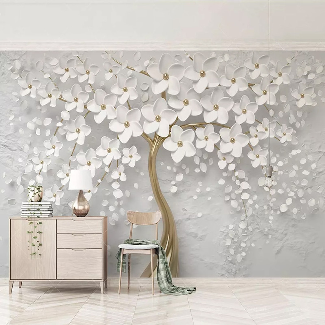 Custom Any Size Murals Wallpaper 3d Stereo White Flowers Wall Painting Living Room Tv Sofa Bedroom Backdrop Wall Papel De Parede Onshopdeals Com