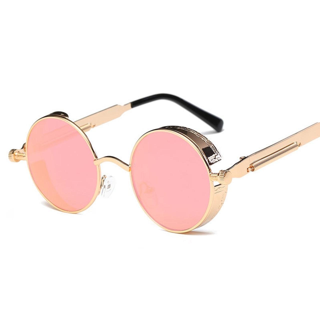 1a9ac2aa6aa ... Metal Round Steampunk Sunglasses Men Women Fashion Glasses Brand  Designer Retro Frame Vintage Sunglasses High Quality ...