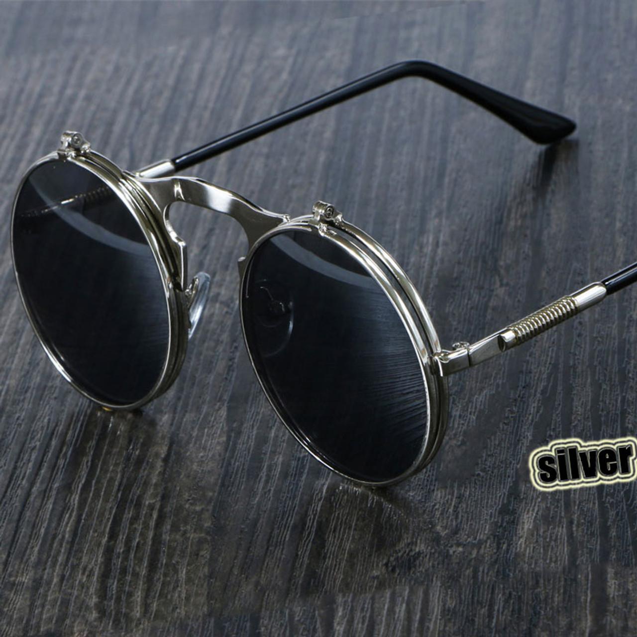 0acff456d Steampunk Sunglasses Round Metal OCULOS De Sol Women Style Retro Flip  Circular Double Metal Sun Glasses Men CIRCLE SUN GLASSES - OnshopDeals.Com