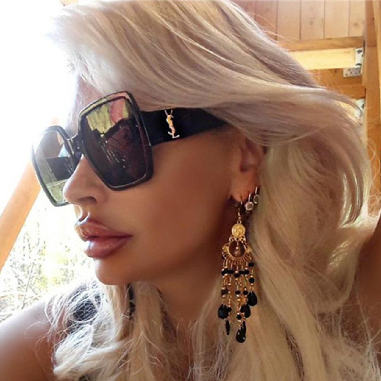 1762fcabd ... Oversized Sunglasses Women Big Frame Square Sun Glasses Men Brand  Designer 2019 New Vintage Gradient Shades ...