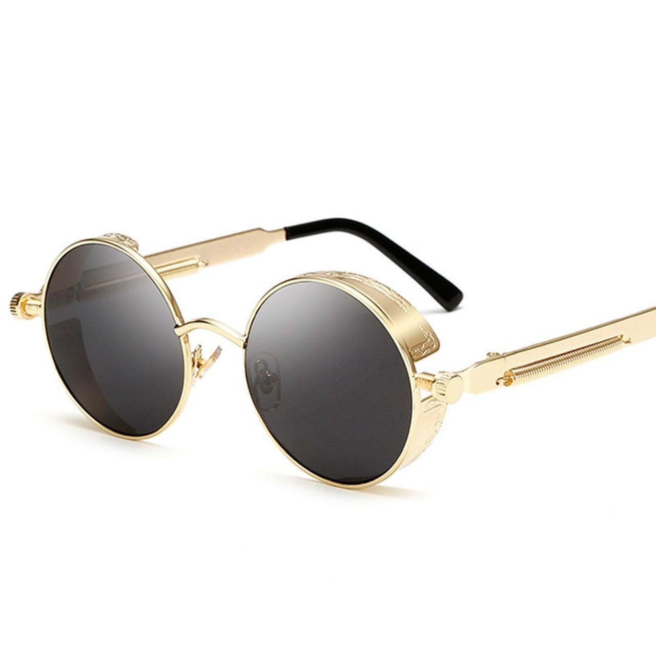 9aacf357ca657 Retro Round Metal Steampunk Sunglasses Men Women Fashion Glasses Brand  Designer Vintage Sunglasses High Quality UV400 ...
