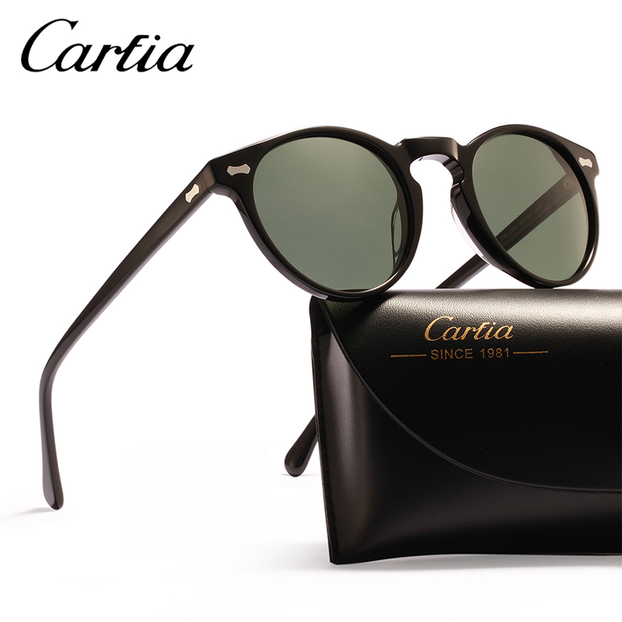 38707c8959 ... Carfia Polarized Sunglasses Classical Brand Designer Gregory Peck  Vintage Sunglasses Men Women Round Sun Glasses 100 ...