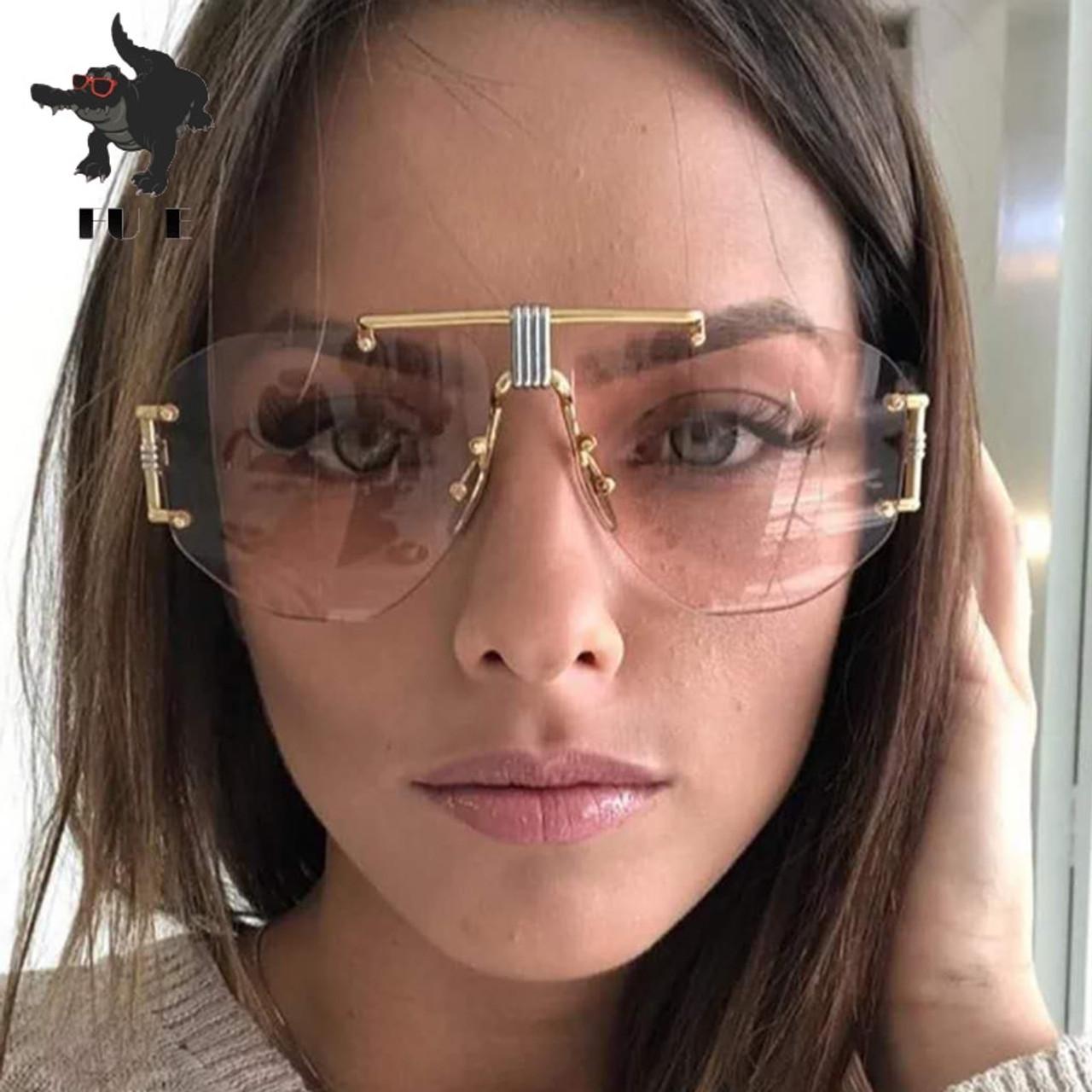 76349b3c2a8 FU E 2018 Fashion Frameless sunglasses Ladies New Brand Designer Punk Big  Frame Glasses Retro sunglasses ...