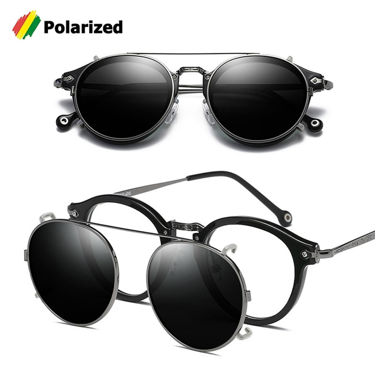 c1ad9d5d22 JackJad SteamPunk Vintage Round Style Polarized Sunglasses Clip On Lens  Removable Brand Designer Sun Glasses Oculos ...