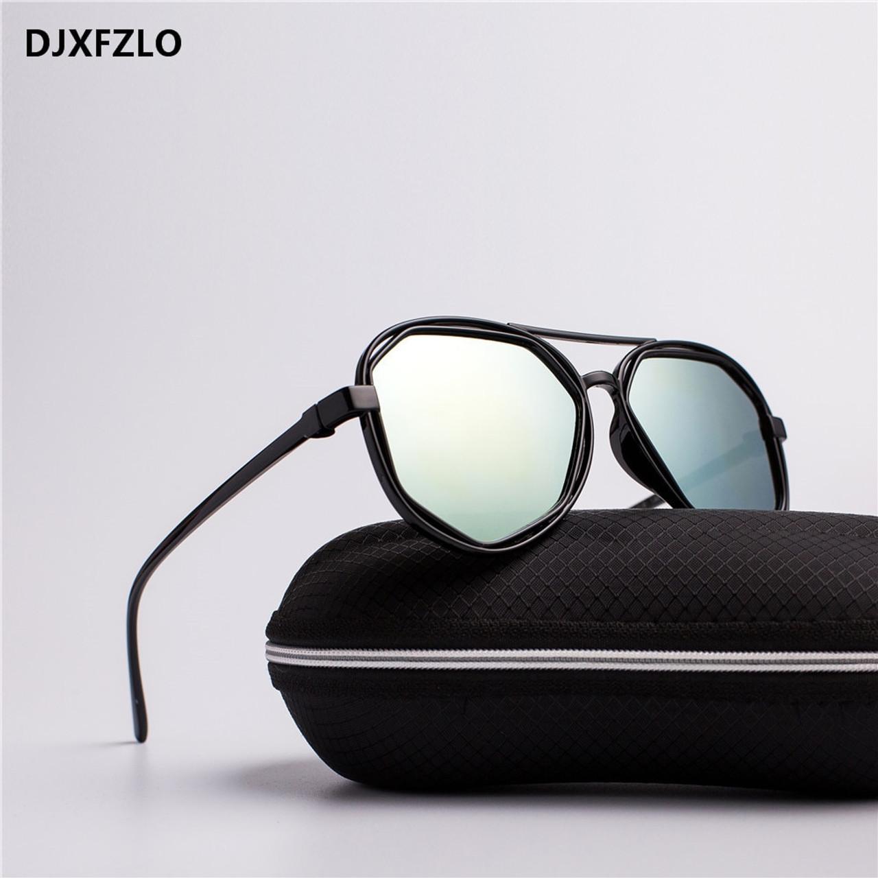 aebd0f7d757 ... DJXFZLO Fashion Goggle Small Frame Polygon Clear Lens Sunglasses Men  Brand Designer Vintage Sun Glasses Hexagon ...