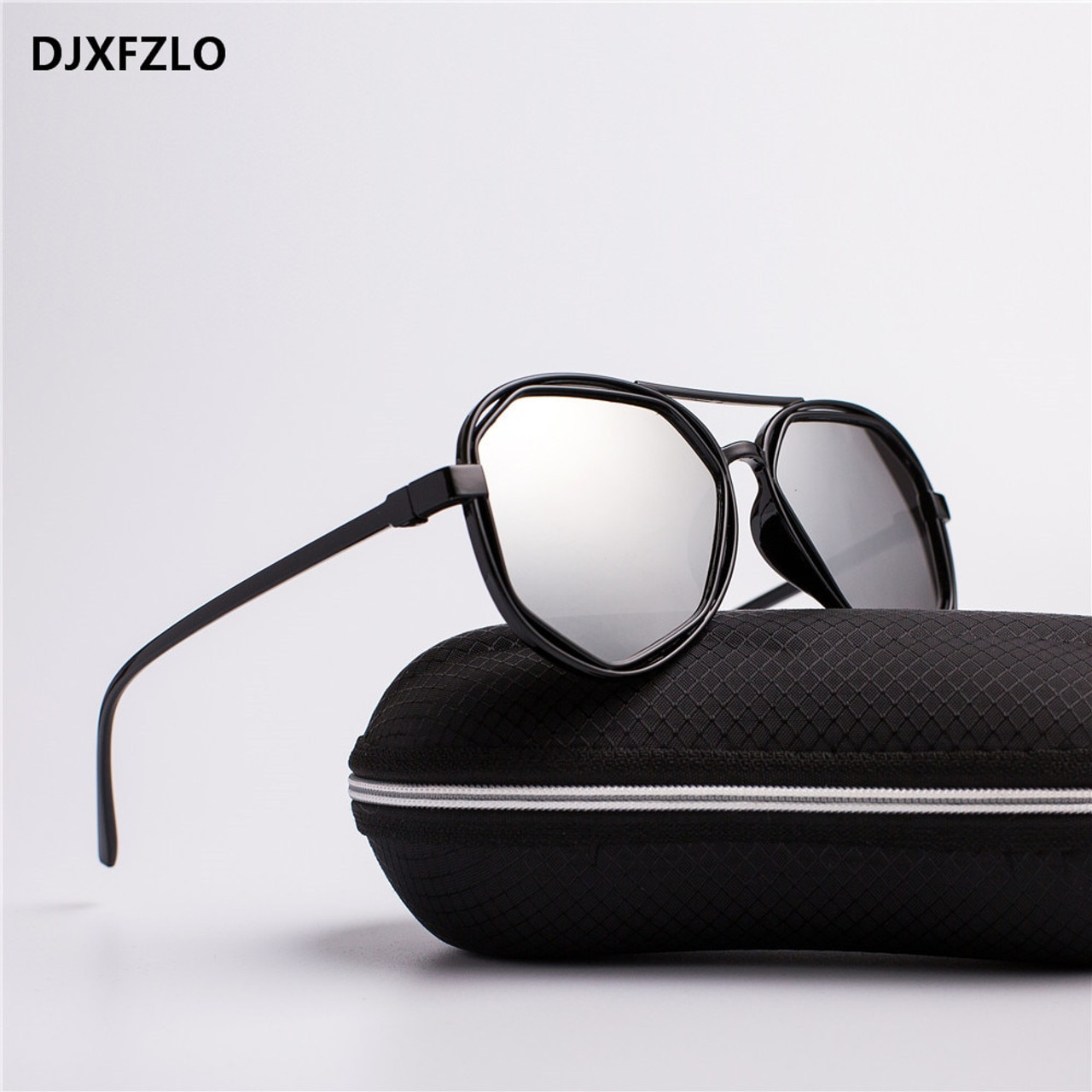 b873a667ea2 ... DJXFZLO Fashion Goggle Small Frame Polygon Clear Lens Sunglasses Men  Brand Designer Vintage Sun Glasses Hexagon ...