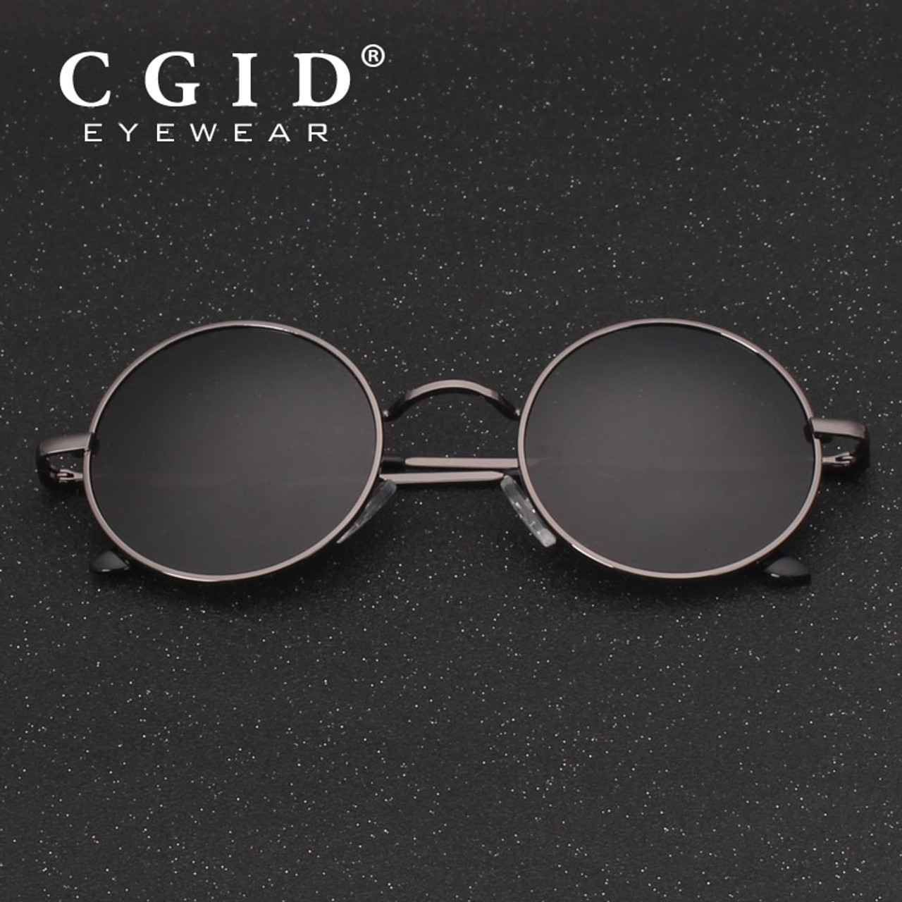 0181a4d30e5 CGID 2018 Round Lennon Sunglasses Polarized Retro Vintage Inspired Metal  Circle Black Sun glasses for Men ...