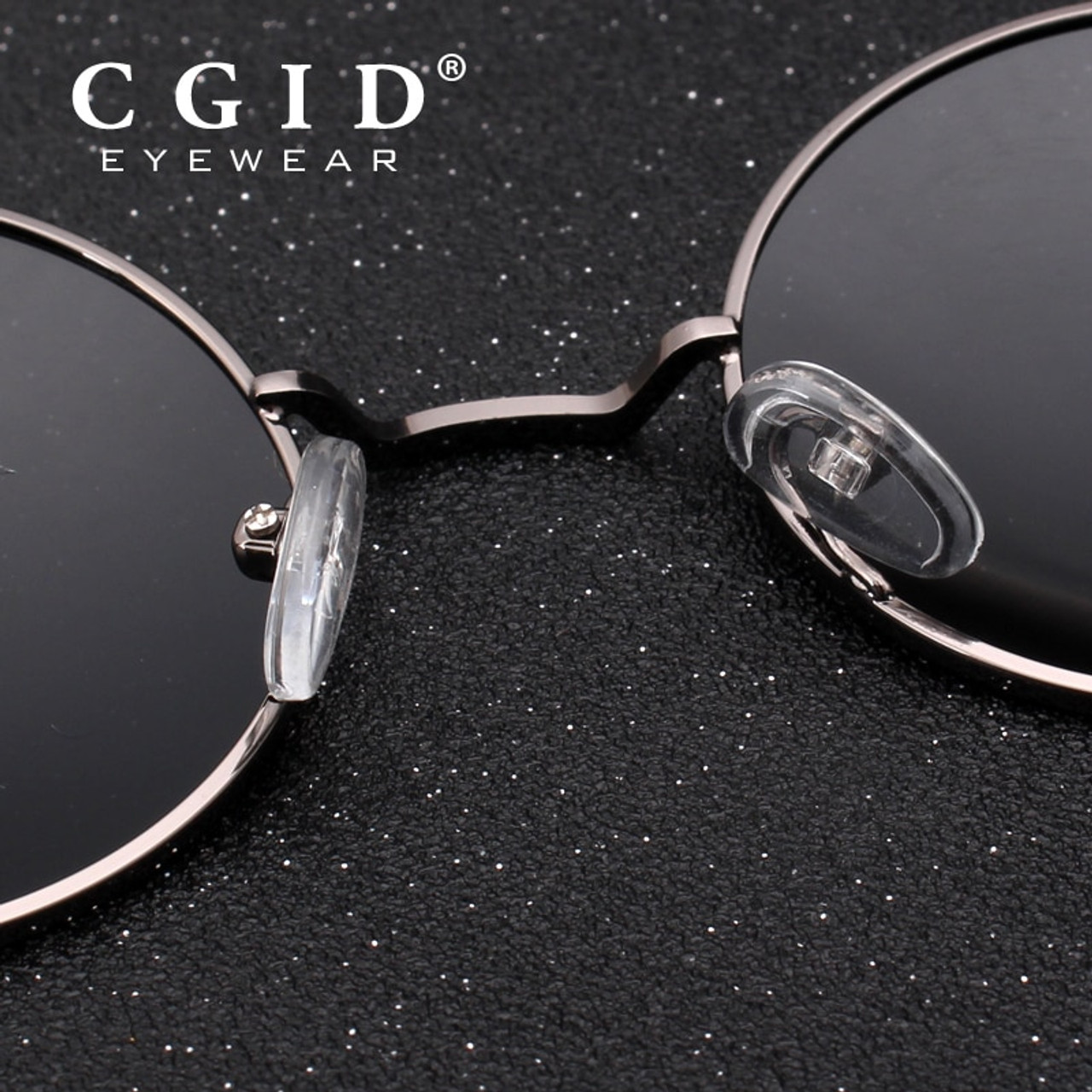 8275a4a43c7 ... CGID 2018 Round Lennon Sunglasses Polarized Retro Vintage Inspired  Metal Circle Black Sun glasses for Men ...