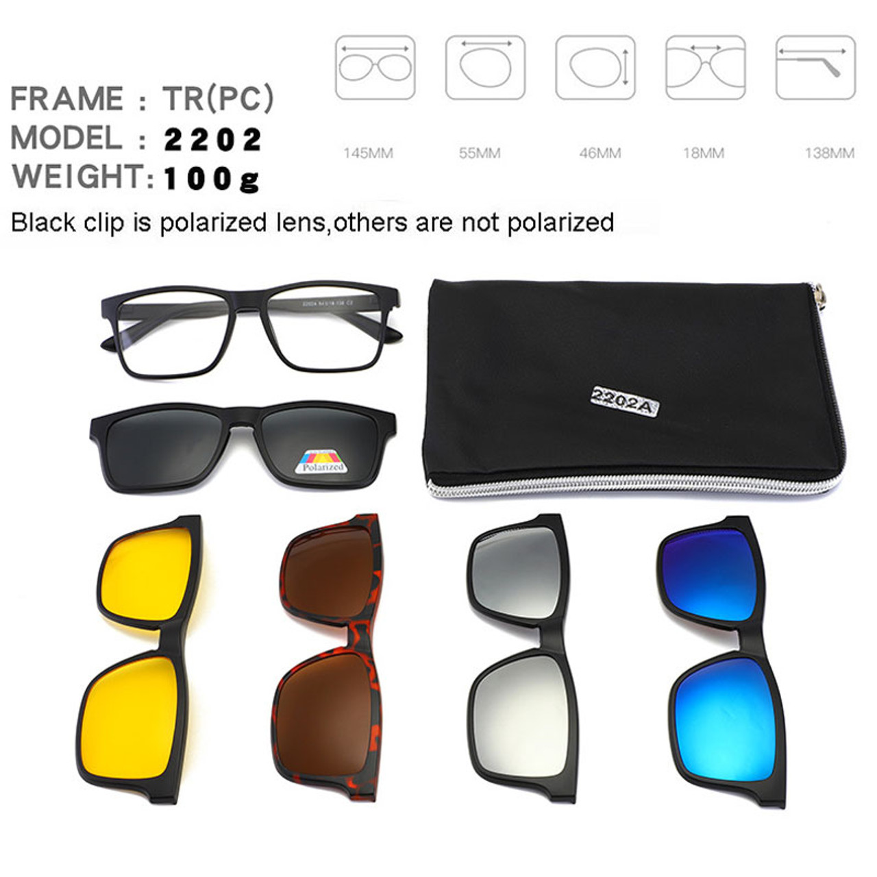 36d761a890df3 ... Square Retro Clip On Sunglasses Men Polarized Women Magnetic Night  Vision Optical Frame Set 5+ ...
