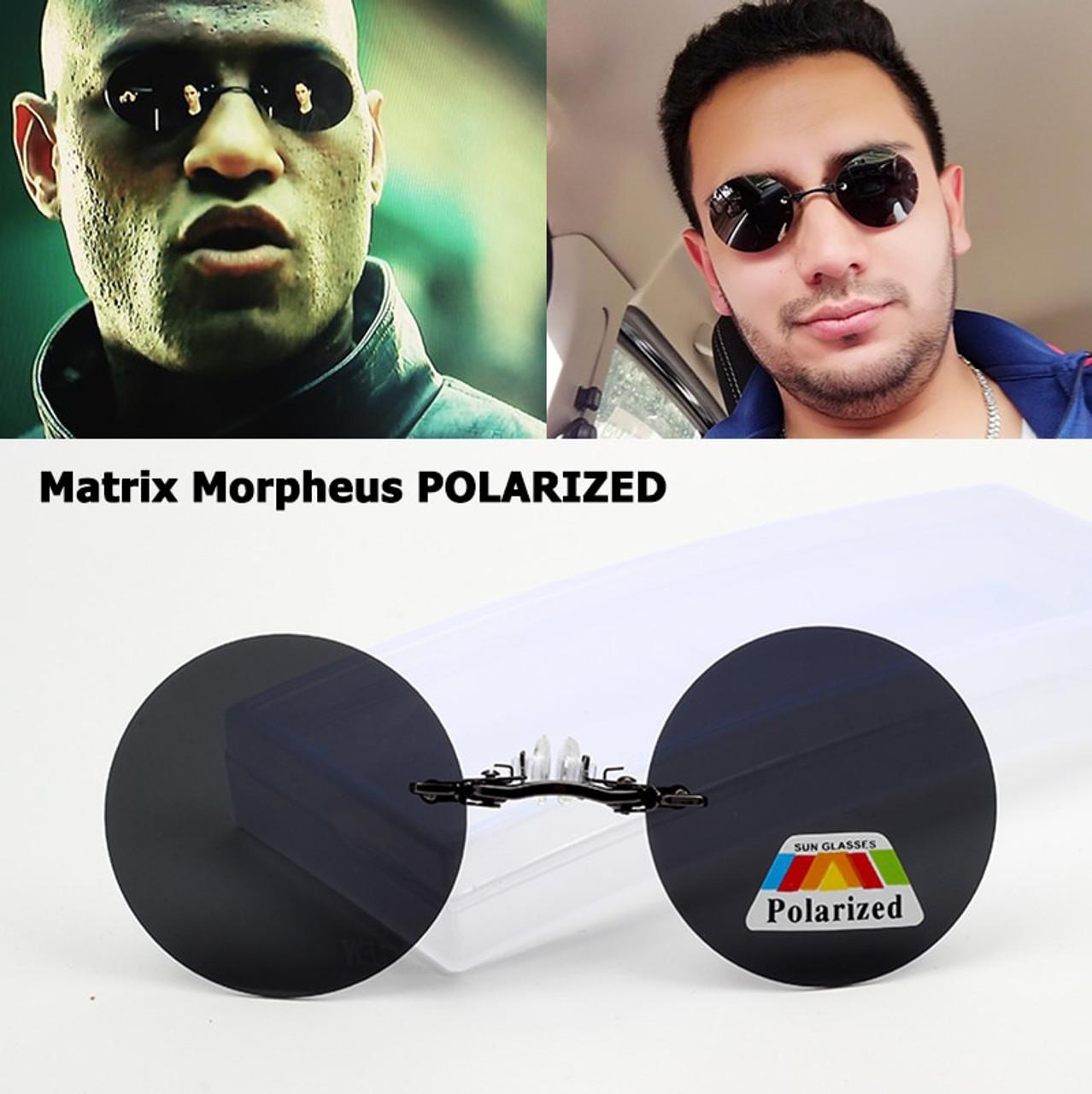 Matrix Morpheus Style vintage Round Rimless Sunglasses Men Brand Sun glasses new