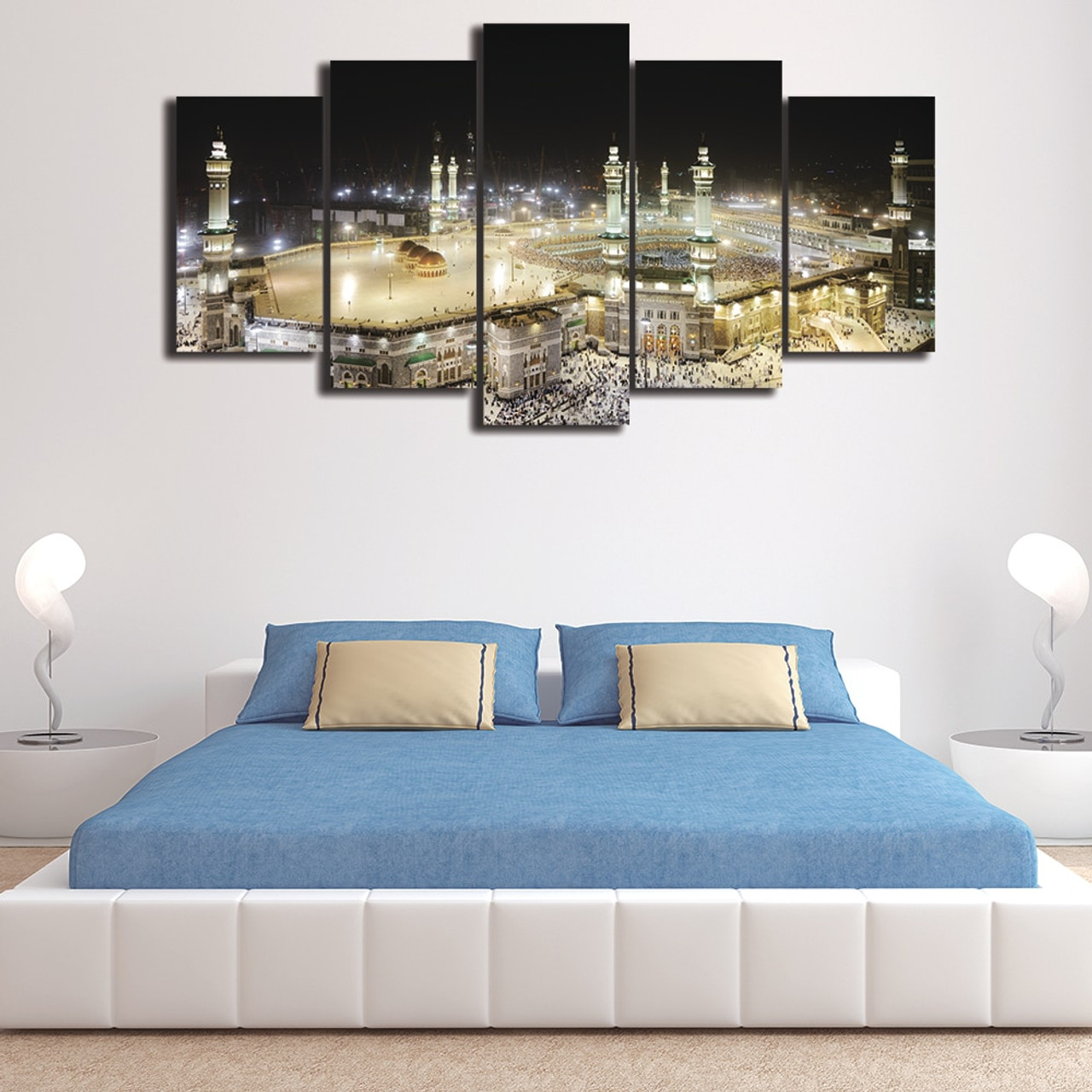 OnshopDeals.Com & Modern Home Wall Decor Frames Modular Pictures HD Printed 5 Panel Islamic Muslim Mosque Landscape Painting On Canvas Art PENGDA
