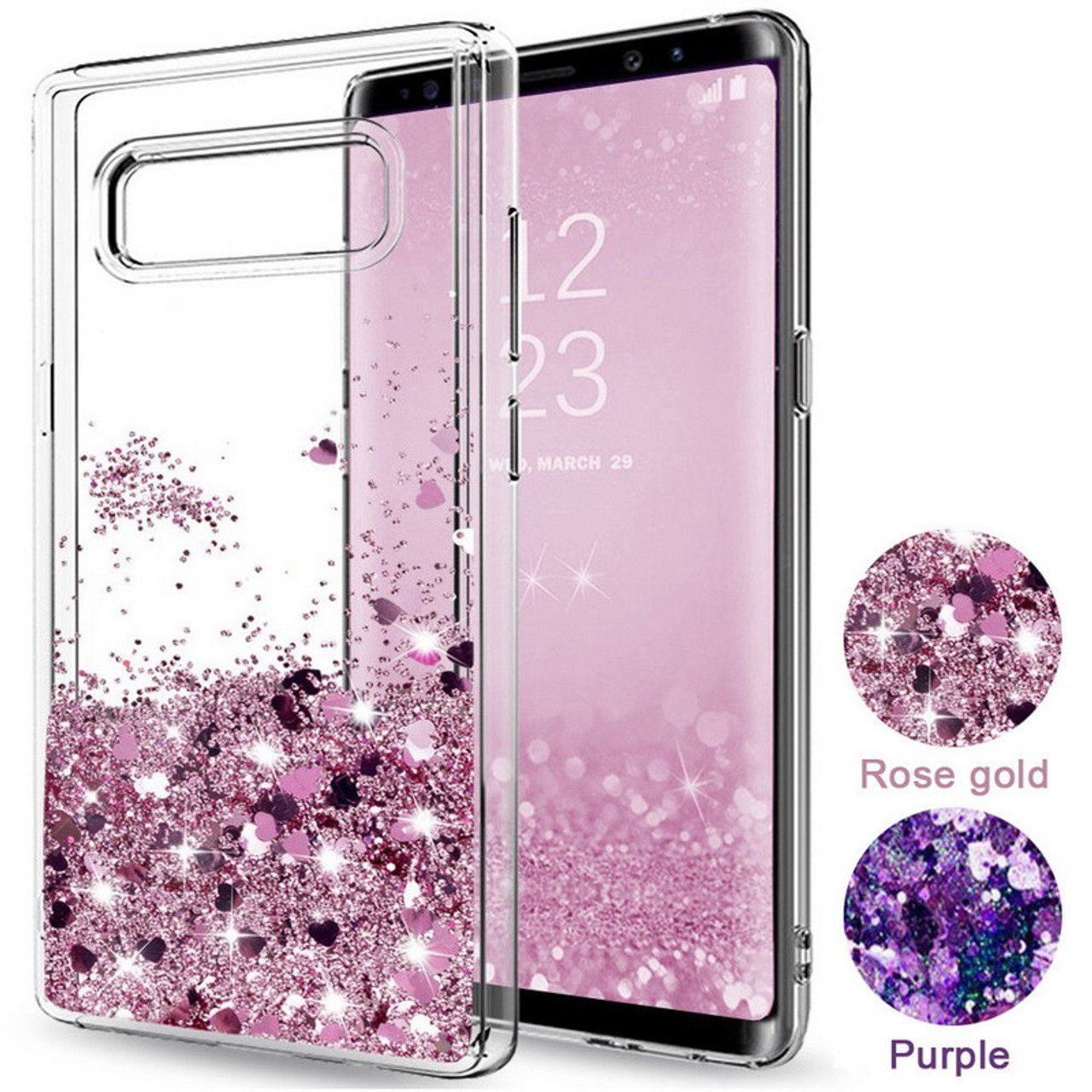 check out 70fd6 3682d Fashion Glitter Stars Hearts Diamond Liquid Quicksand Clear Phone Cases For  Samsung Galaxy S6 S7 Edge S8 Plus Note 8 3 Note 4 5