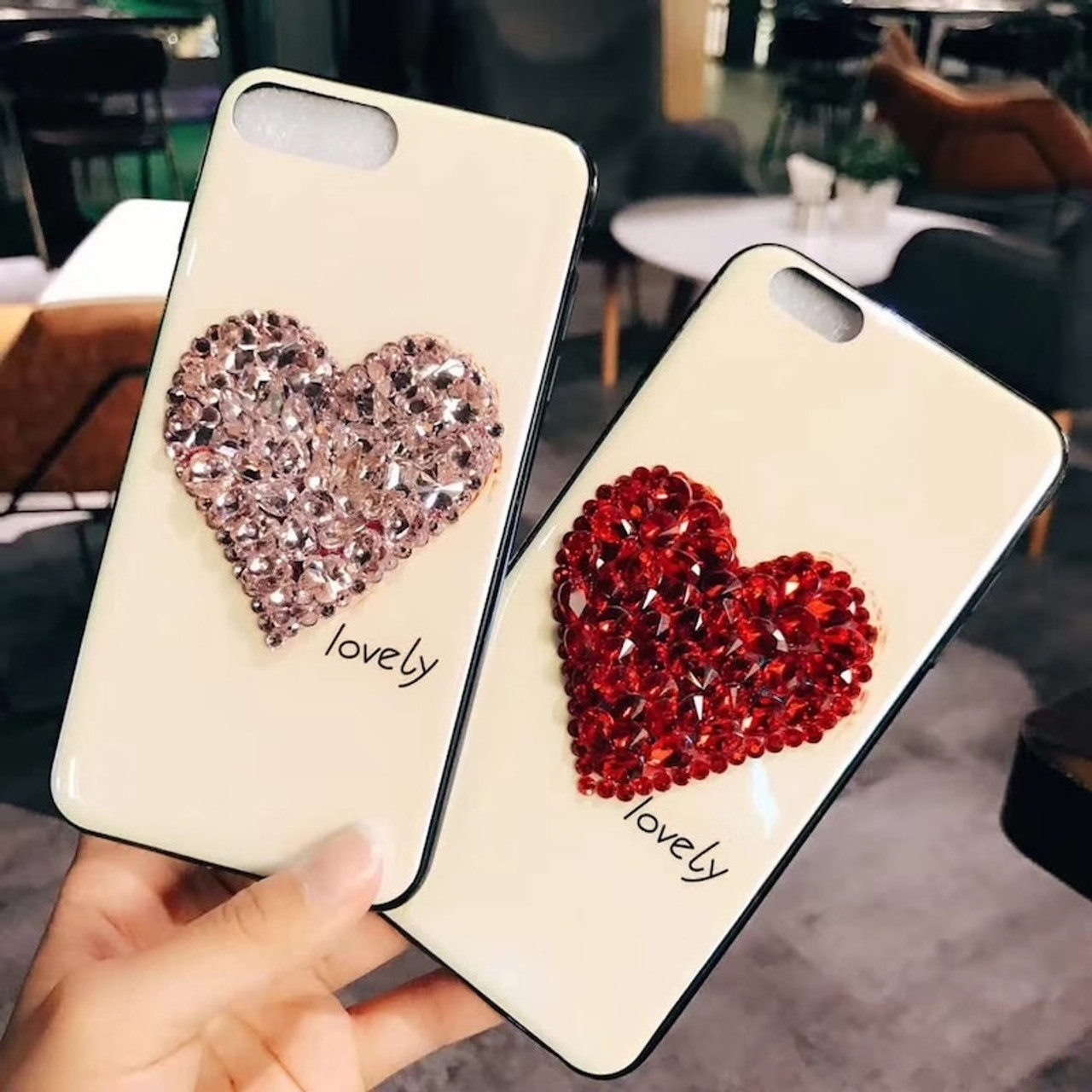 sports shoes 40e4c 31ea7 DIY rhinestone diamond heart blu-ray soft phone case for iPhone 6 6s 7 8  plus X for Samsung galaxy s7 edge s8 s9 plus note 8 9